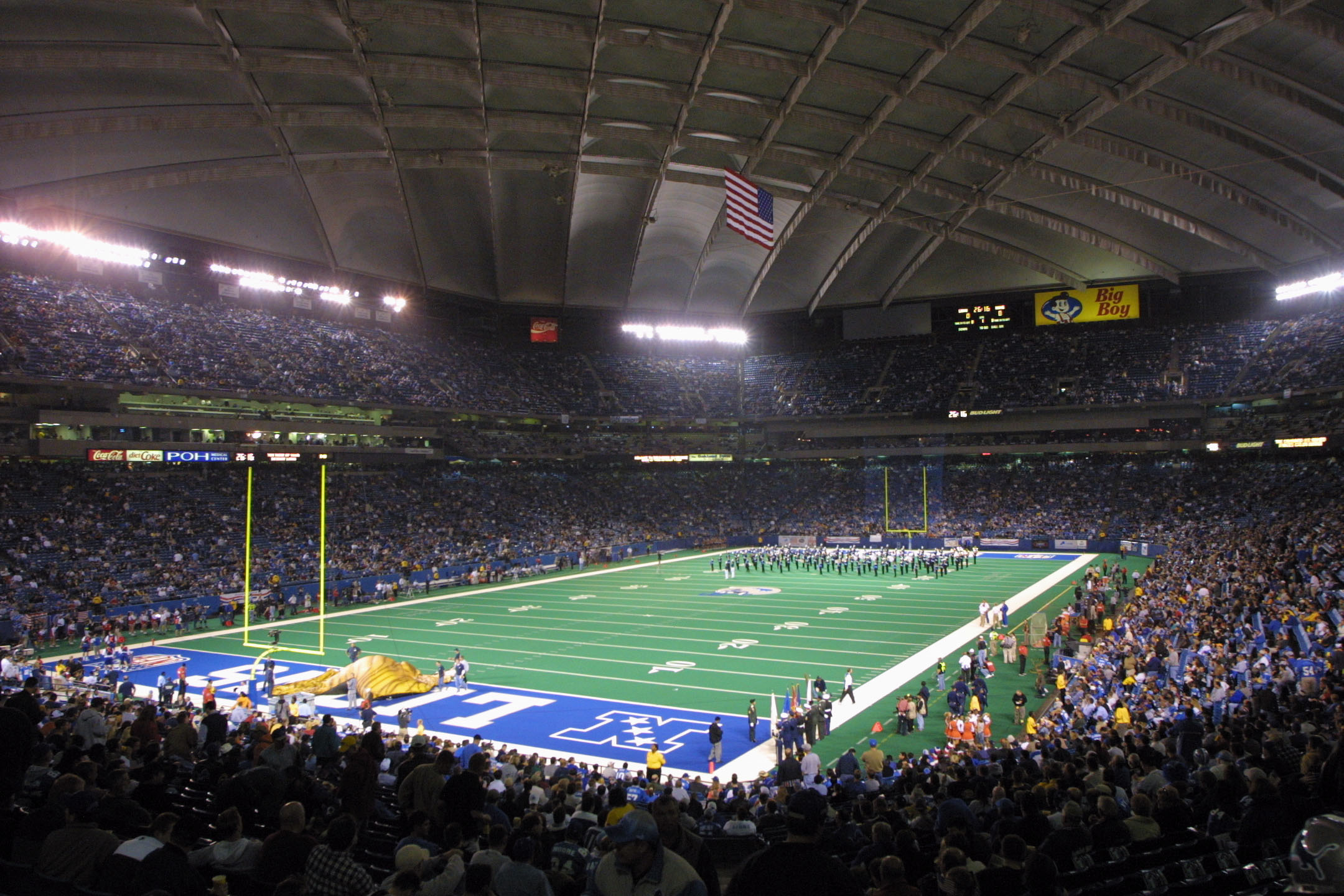 Usually played in the southern latitudes, where the weather is warmer in January and February, the Super Bowl has been played in northerly stadiums three times in its history so far, the first in 1982, when the Pontiac Silverdome played host to the big game. Opened in 1975 and home of the Detroit Lions until 2001, the stadium fell into disuse when the Lions left for Ford Field; it was sold in 2009 for $583,000.