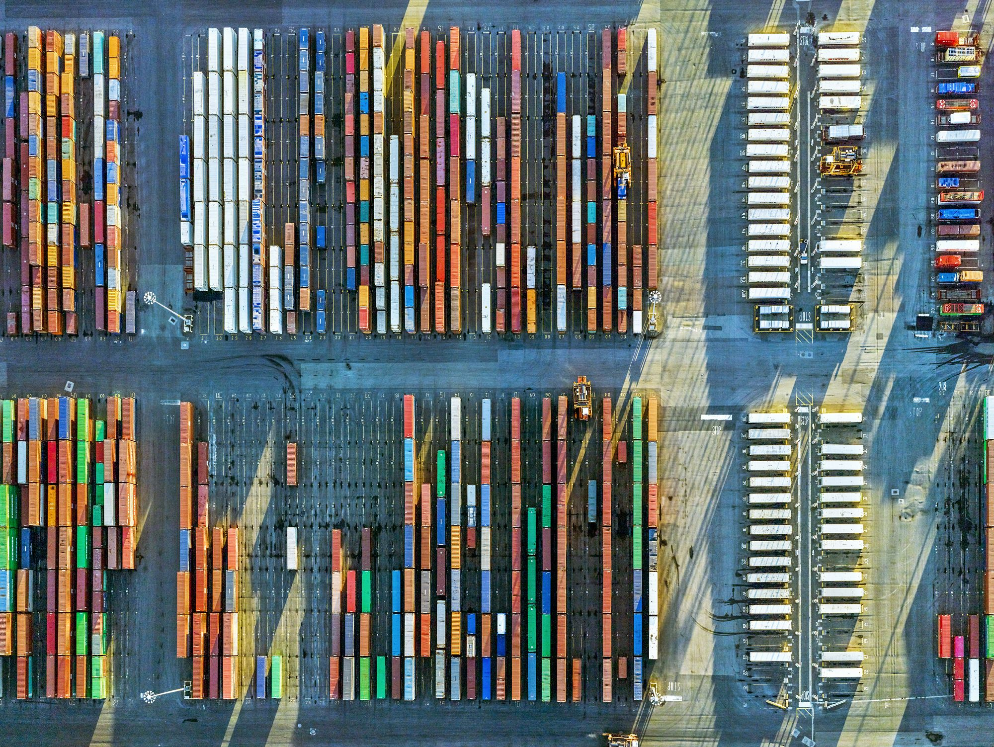 Shipping containers at port in Newark, N.J., 2016.