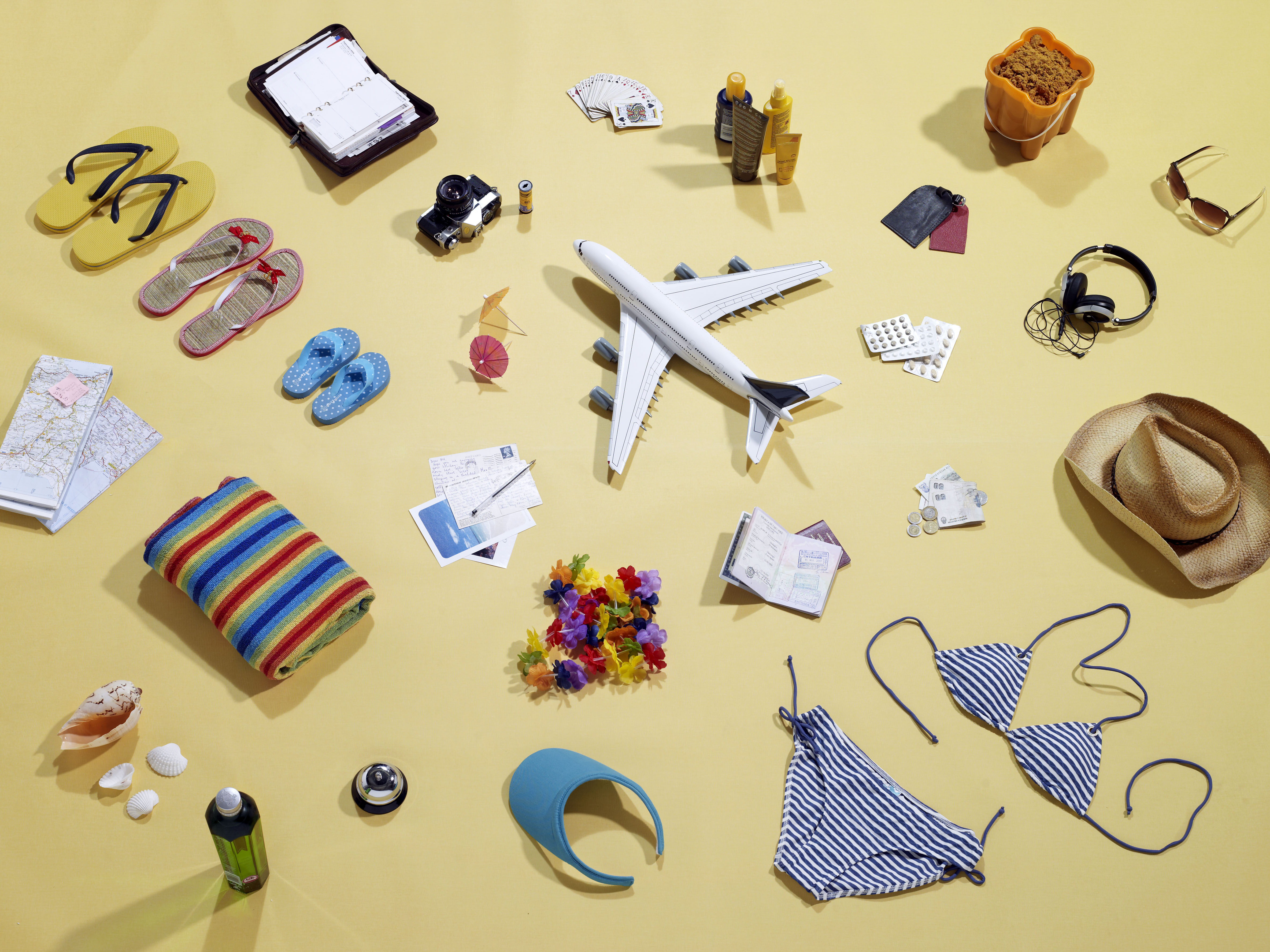 Still life items that represent a family holiday.