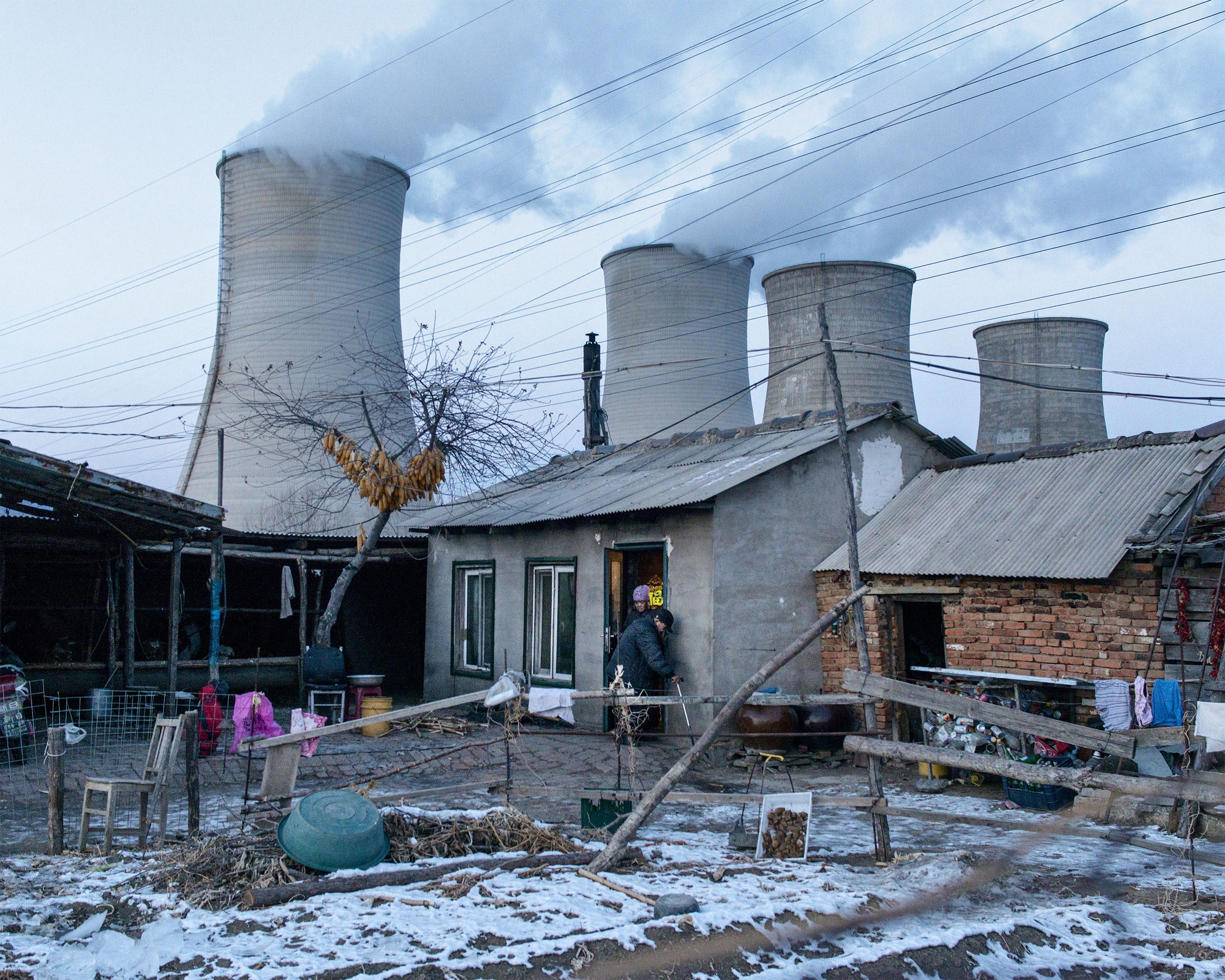 A farm situated next to a thermal power plant close to the North Korean border in Tumen, China.