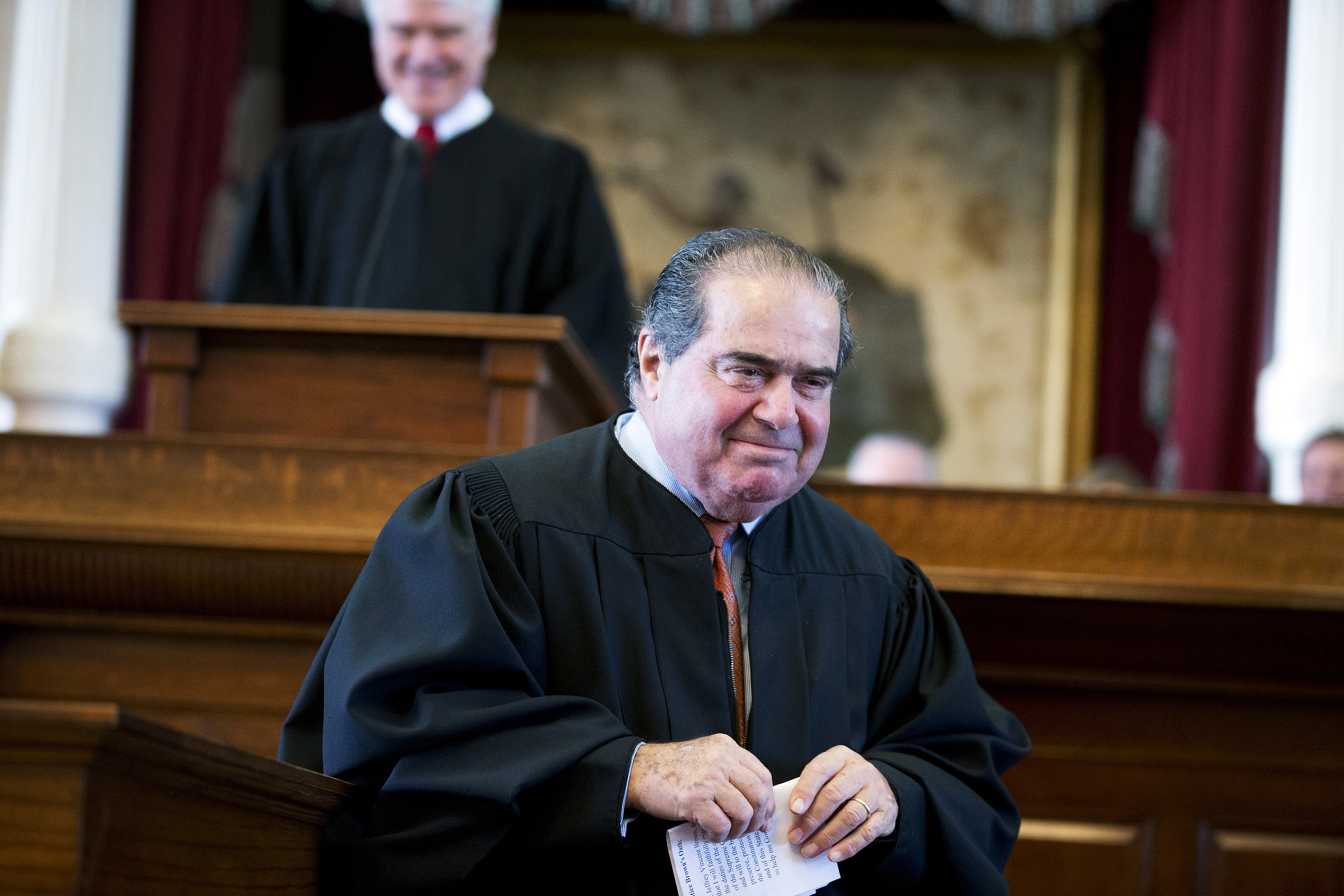This Nov. 12, 2013 photo shows  Supreme Court Justice Antonin Scalia during the investiture of Texas Supreme Court Chief Justice Nathan Hecht at the Texas Capitol in Austin.