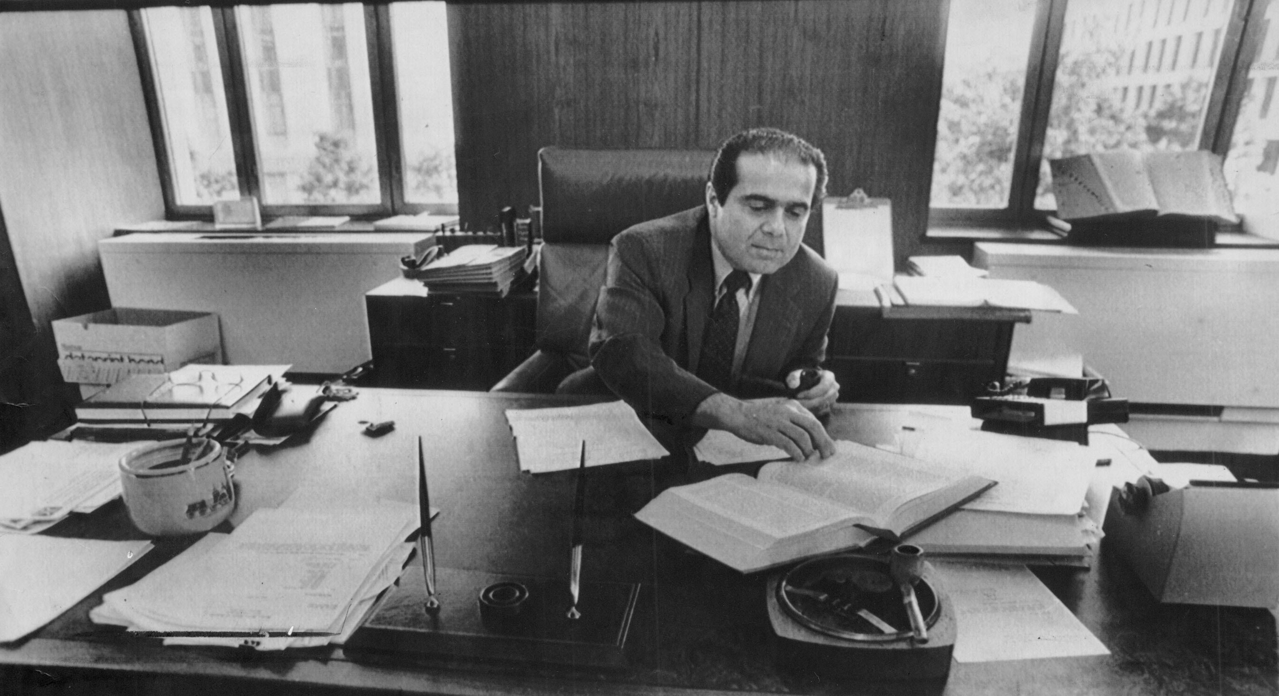 Judge Antonin Scalia, then serving on the United States Court of Appeals in the District of Columbia Circuit, at his office in Washington.