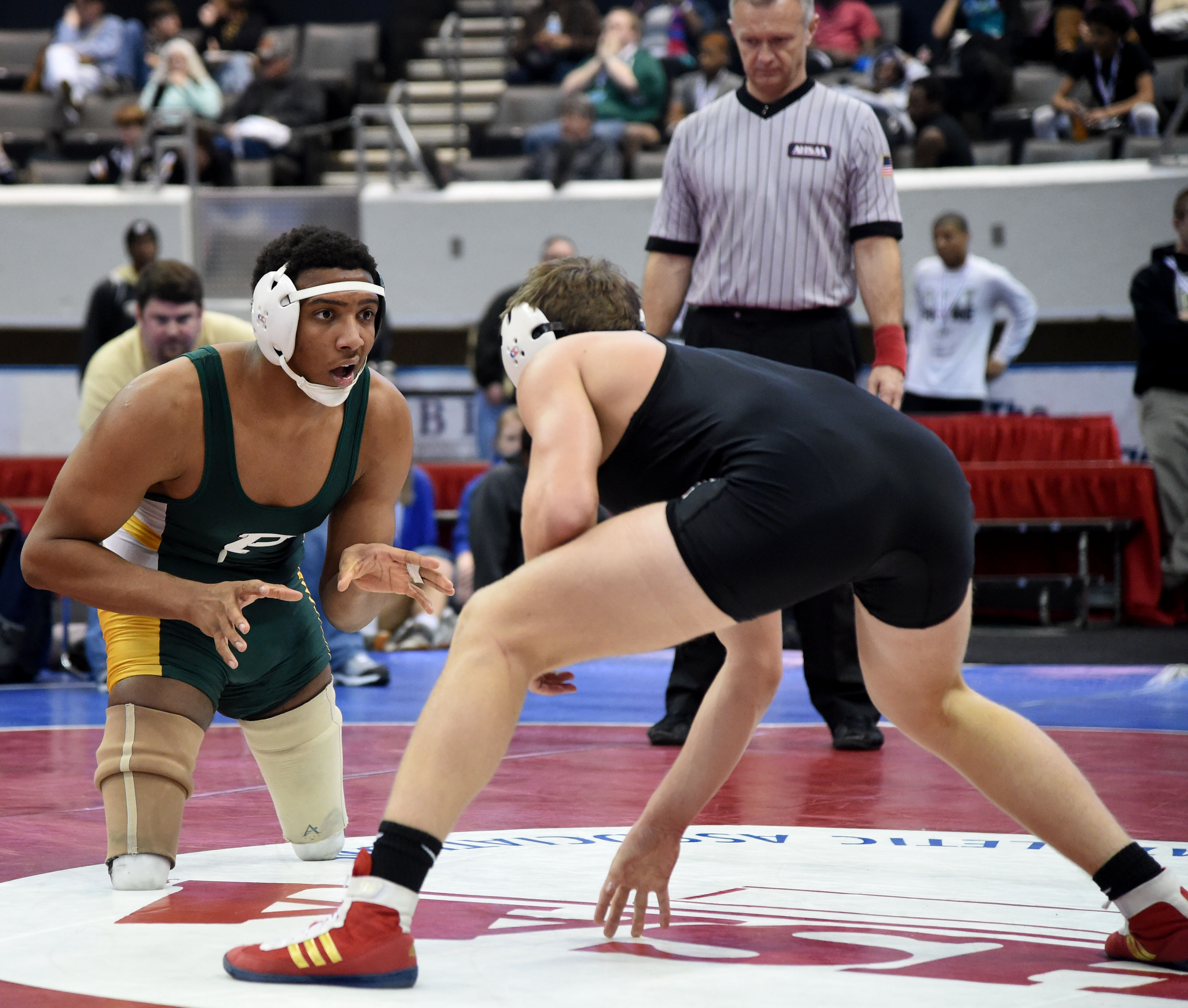 Hasaan Hawthorne, from Pelham High School, competes in the AHSAA State Wrestling Championships at the Von Braun Center in Huntsville, Ala., Feb. 12, 2015
