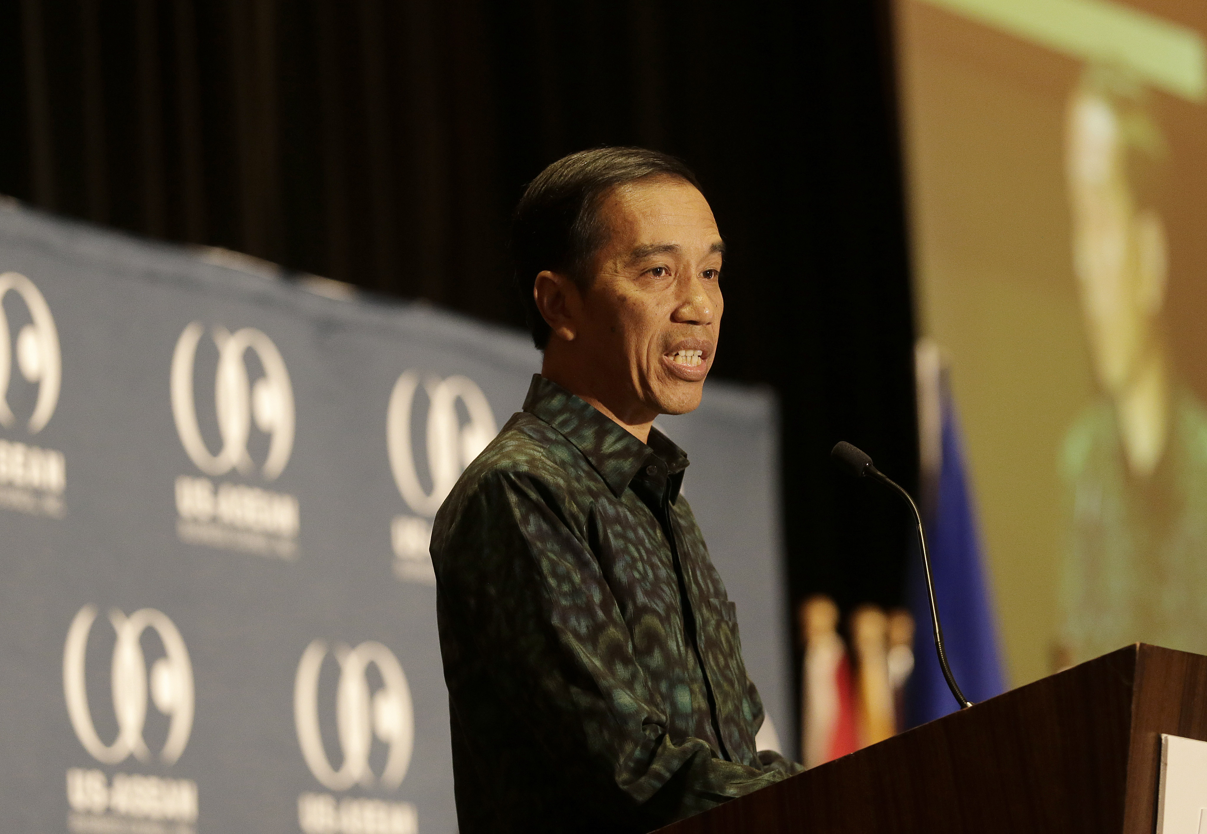 Indonesian President Joko Widodo gives the keynote address at a U.S.-ASEAN Business Council event in San Francisco on Feb. 17, 2016