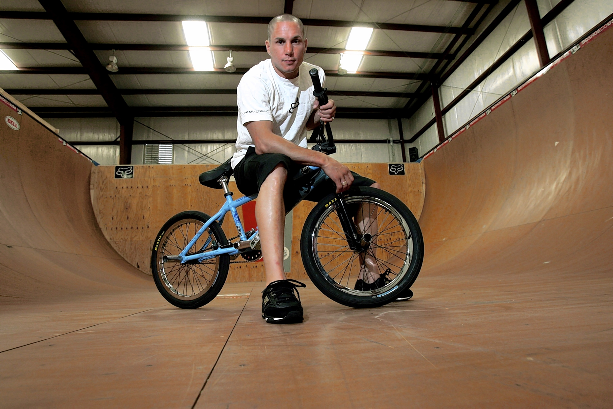 X-Games athlete Dave Mirra poses in the half-pipe at his training facility in Greenville, N.C., June 24, 2005