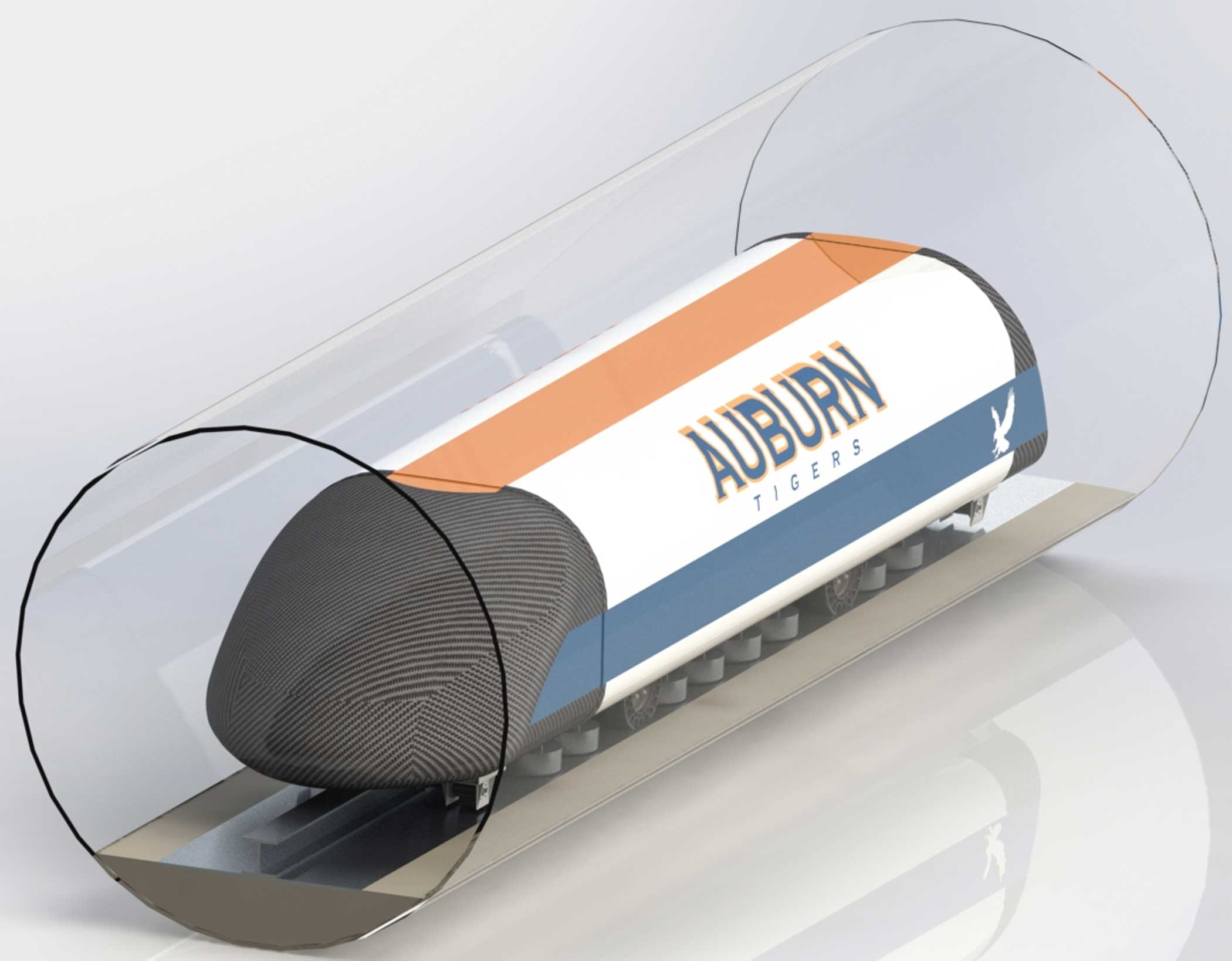 "Auburn's pod ""utilizes Arx Pax Hover Engines for magnetic levitation, a mechanical landing gear, and aircraft fuselage structural design."""