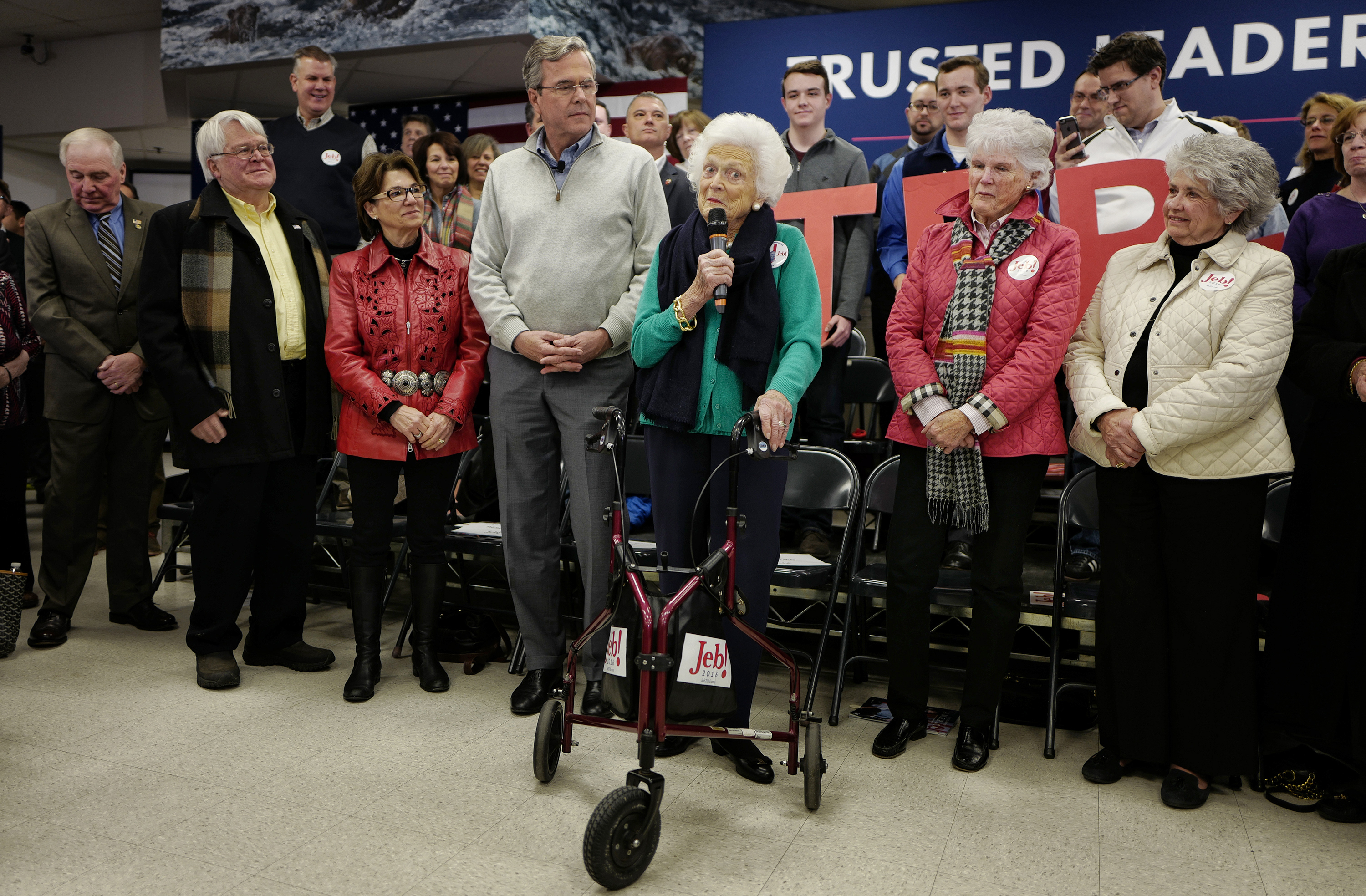 Barbara Bush introduces son Jeb at a town hall in Derry, N.H. on Feb. 4.