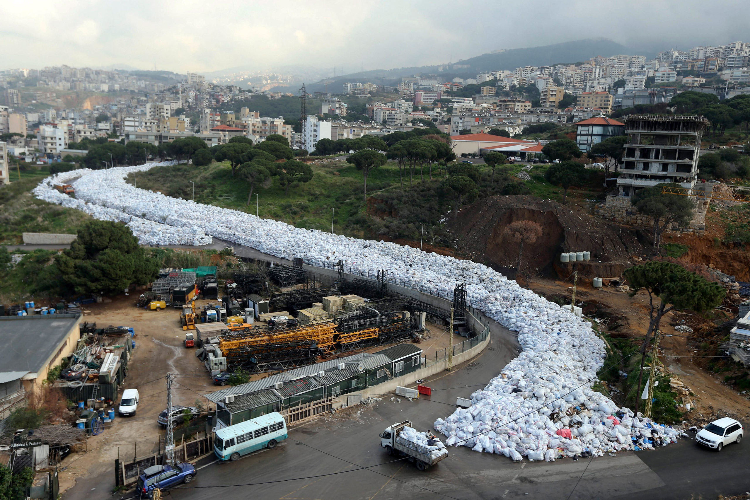 Thousands of packed garbage bags in Jdeideh, a northern suburb of Beirut, Lebanon, Feb. 23, 2016. The country has struggled to resolve its trash crisis since last summer.