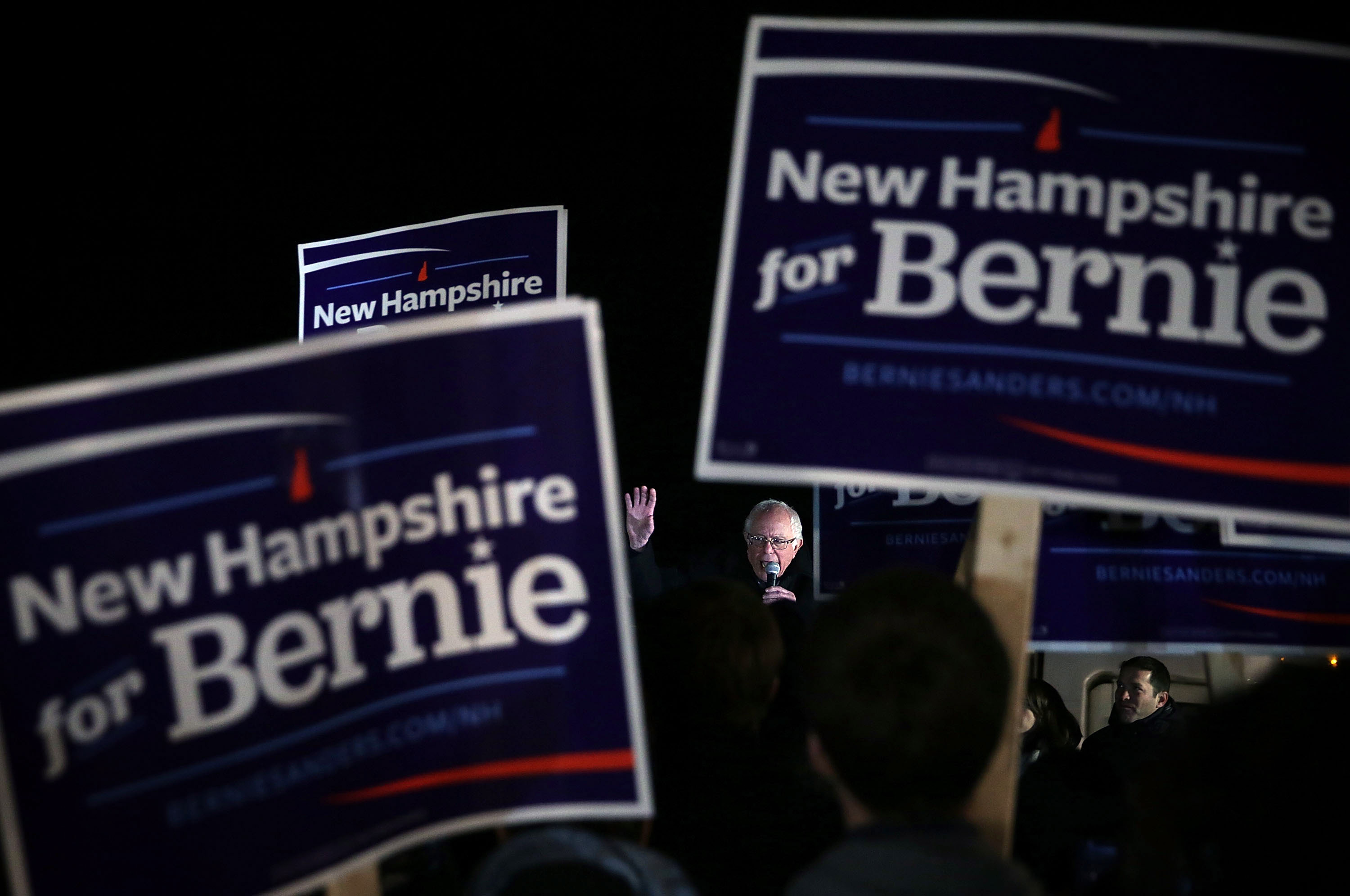 Bernie Sanders speaks to supporters on Feb. 2, 2016 in Concord, New Hampshire.