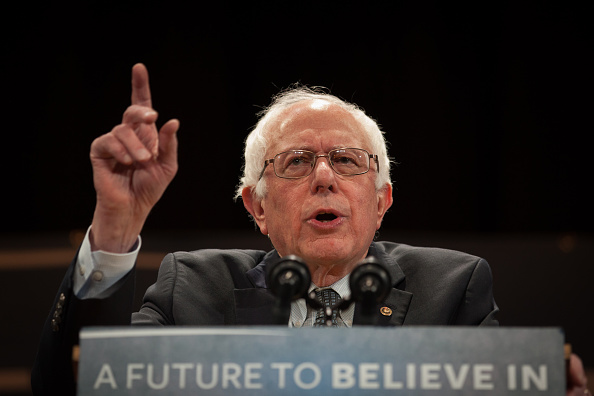 Democratic presidential candidate Sen. Bernie Sanders (I-VT) speaks at the Claremont Opera House on February 2, 2016 in Claremont, New Hampshire.