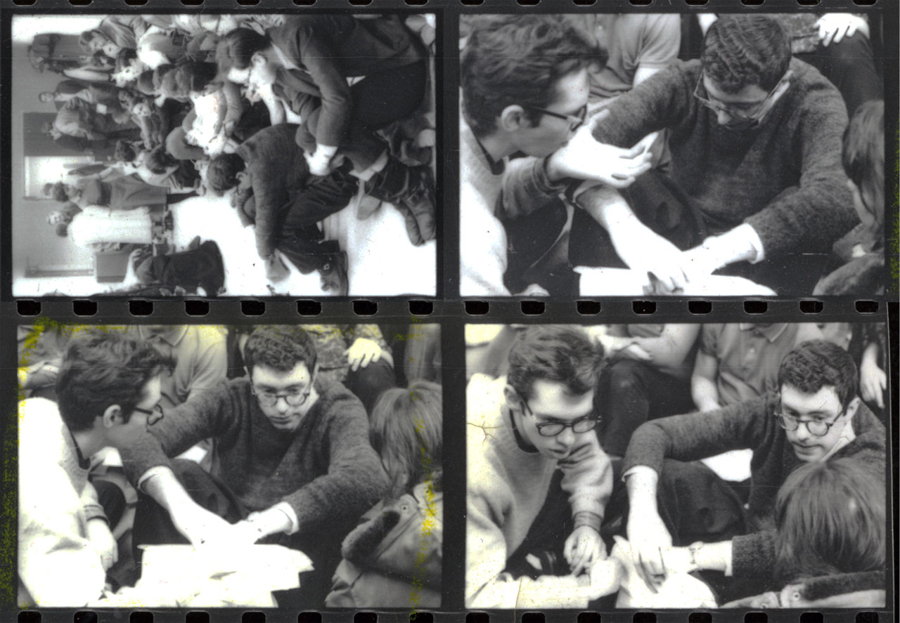 Students organizing a sit-in against segregated housing at the University of Chicago in 1962.