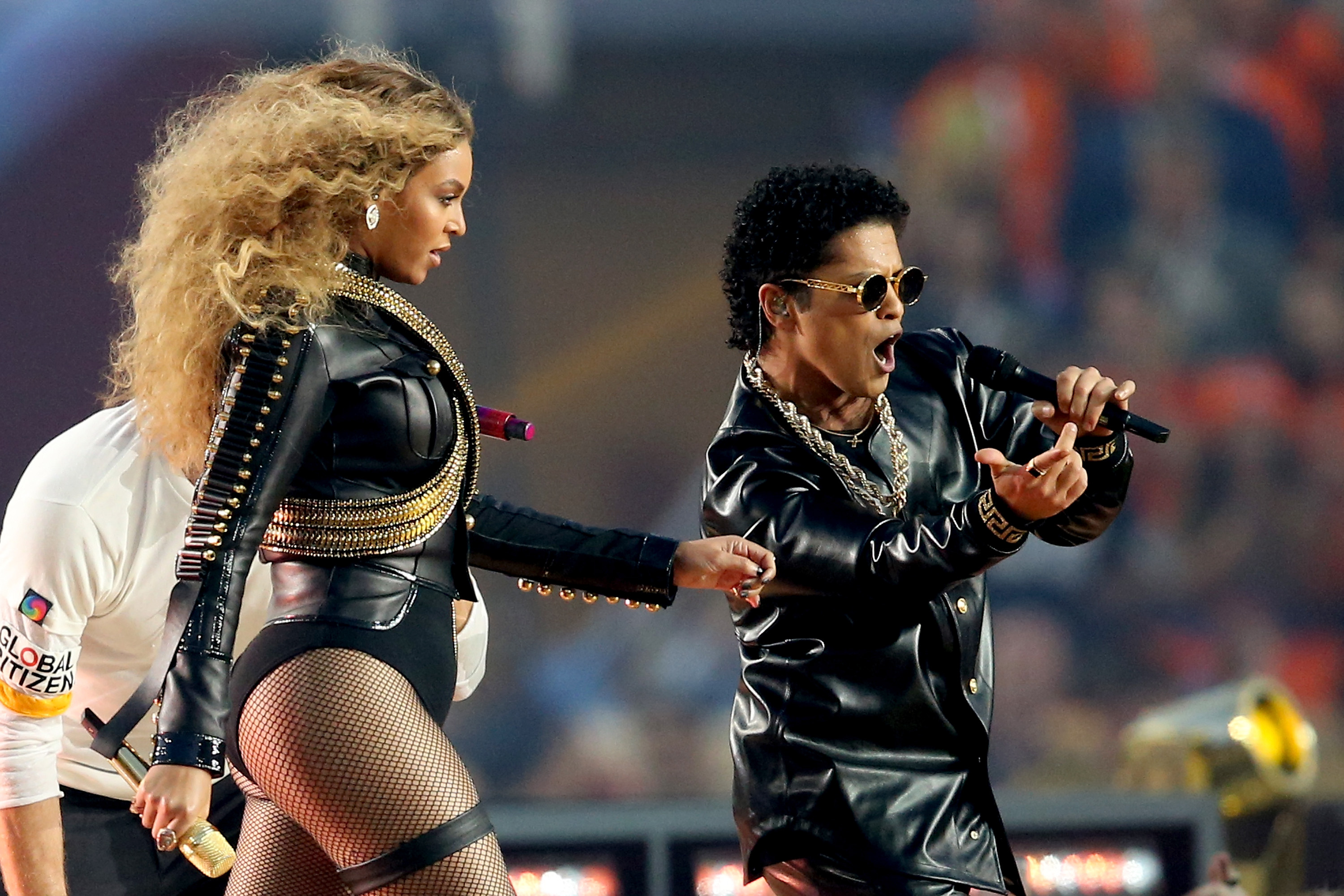 Beyonce  and Bruno Mars perform during the Pepsi Super Bowl 50 Halftime Show at Levi's Stadium on Feb. 7, 2016 in Santa Clara, Calif.
