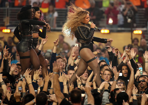 Beyonce (R) performs onstage during the Pepsi Super Bowl 50 Halftime Show at Levi's Stadium in Santa Clara, Calif., on Feb. 7, 2016,