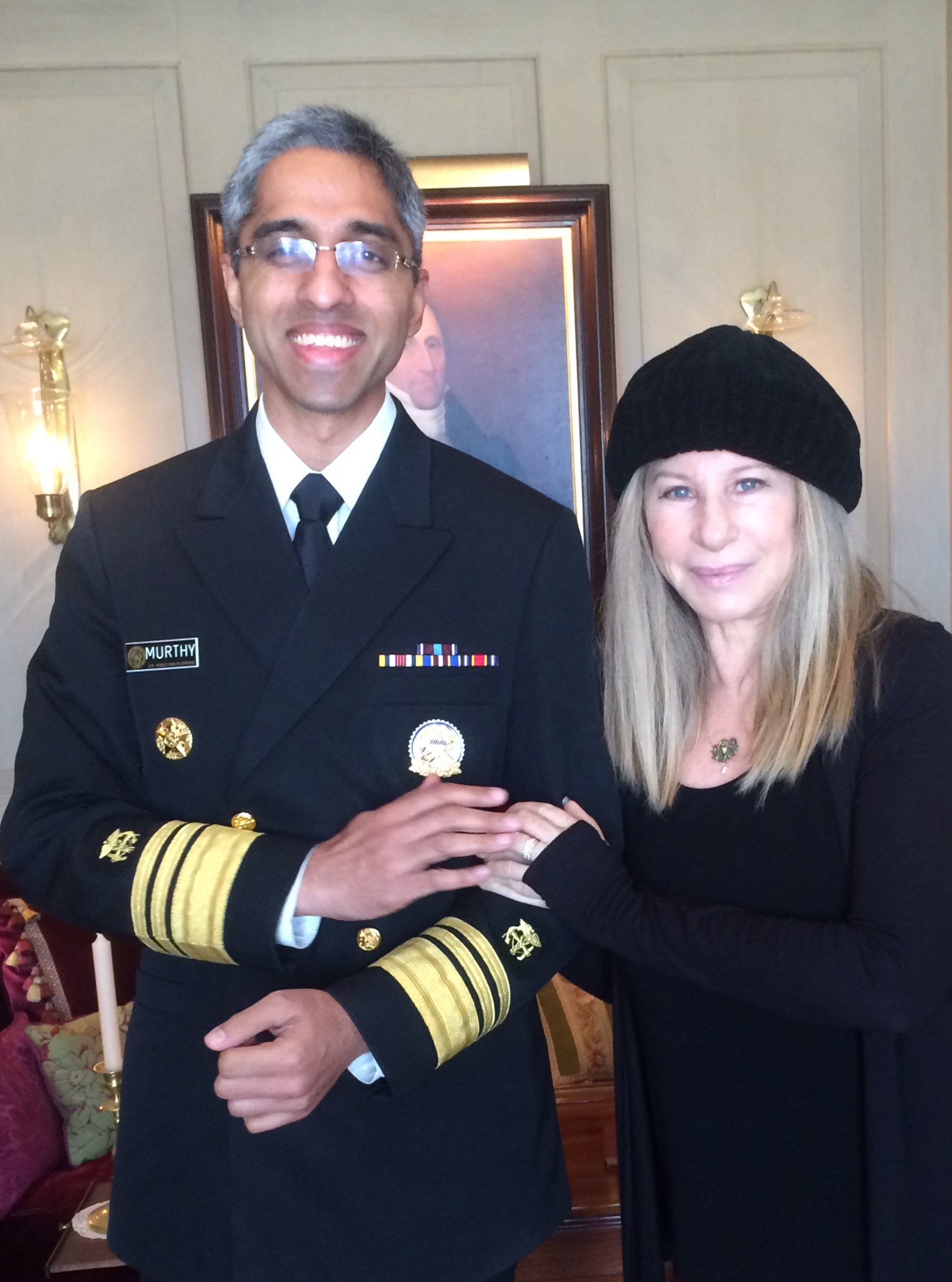 Vivek Murthy and Barbra Streisand in Los Angeles in January 2016.