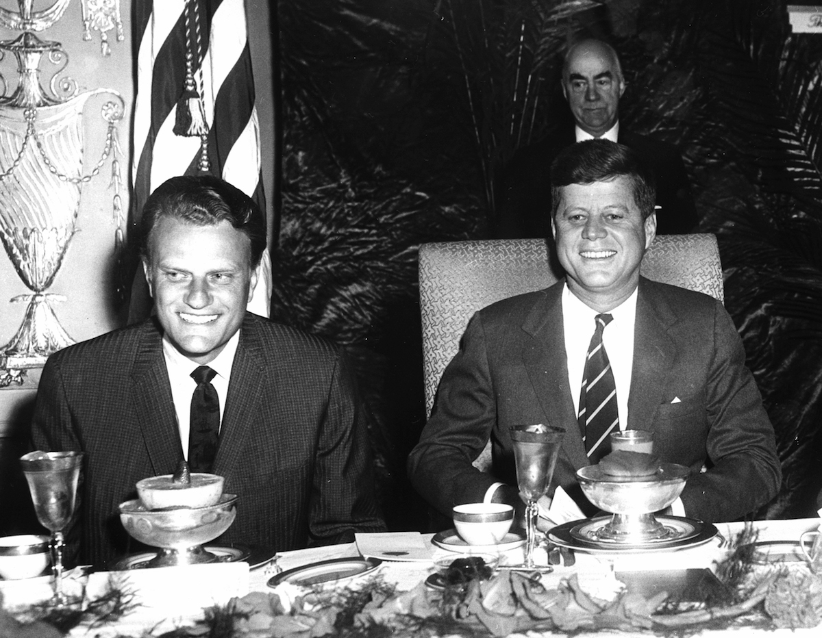 Rev. Billy Graham and President John F. Kennedy at a National Prayer Breakfast, Feb. 9, 1961.