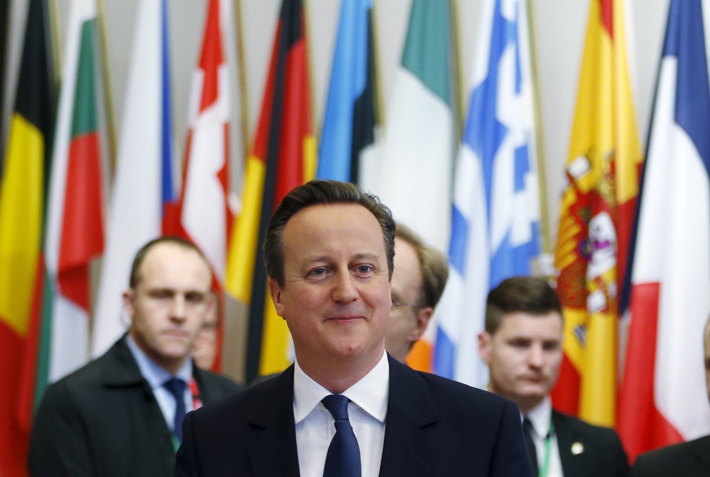 Britain's Prime Minister David Cameron leaves a European Union leaders summit in Brussels, Feb. 19, 2016.