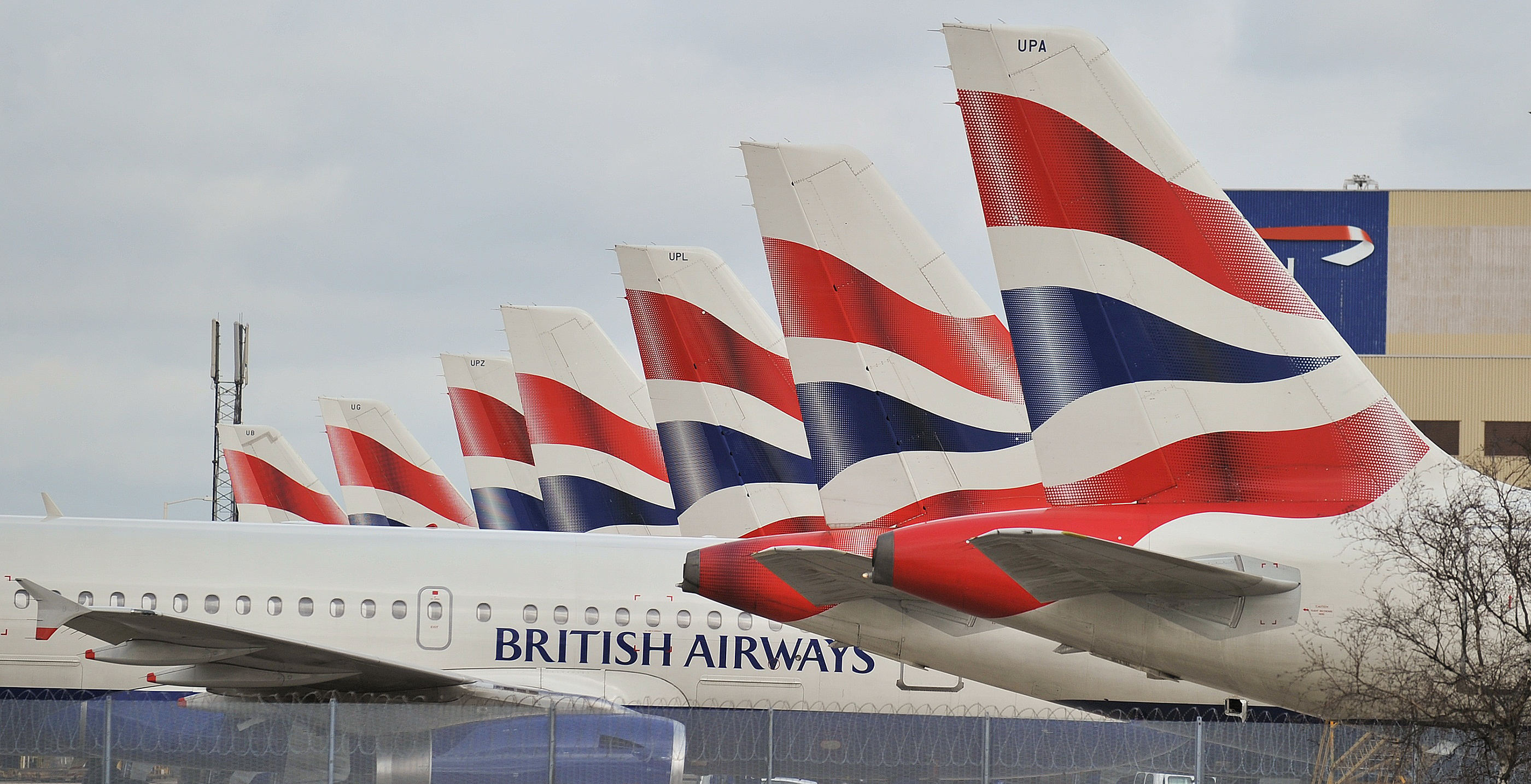 British Airways planes are grounded at Heathrow Airport on March 28, 2010.