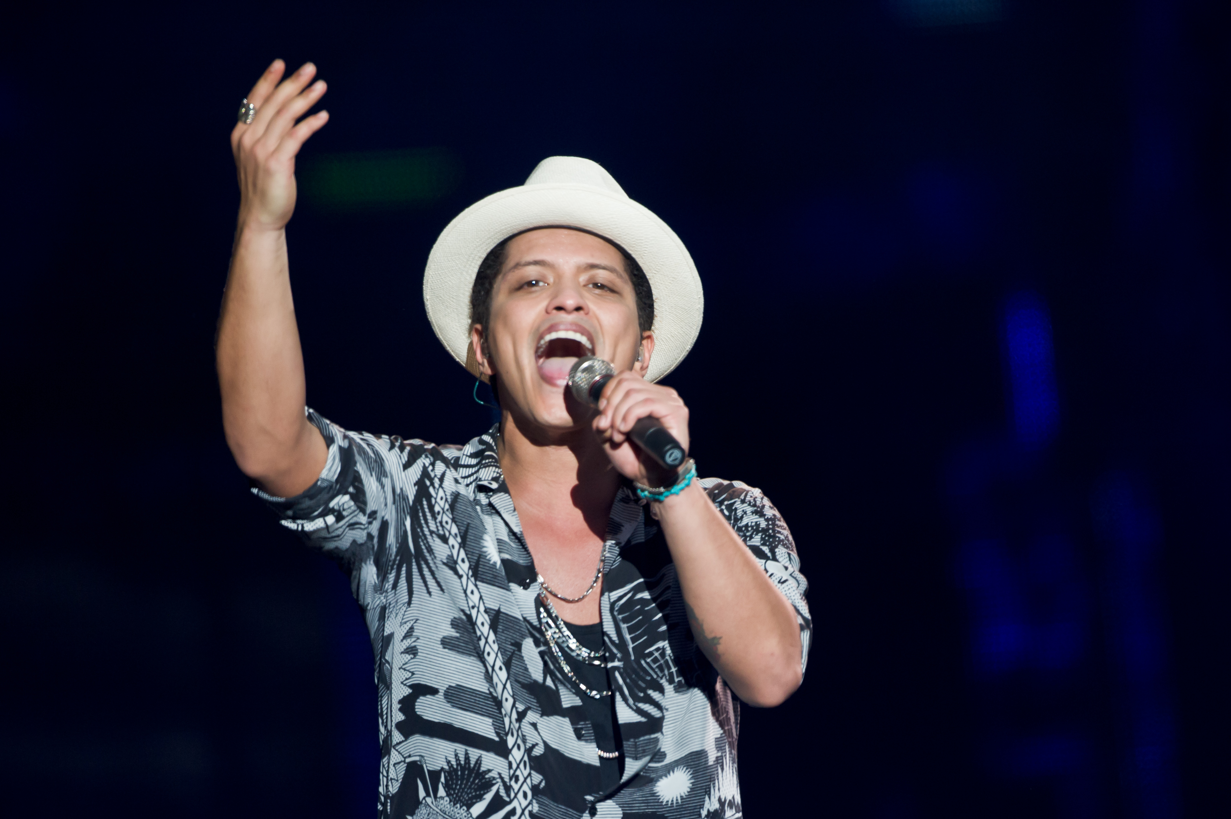 Bruno Mars performs on stage at Wireless Festival at Finsbury Park on July 6, 2014 in London, United Kingdom.