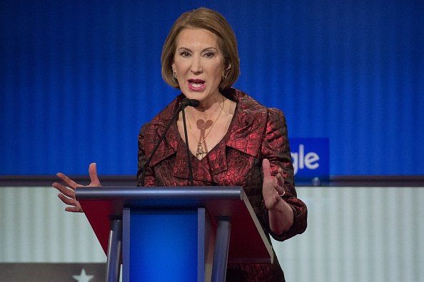 Carly Fiorina, former chairman and chief executive officer of Hewlett-Packard Co. and 2016 Republican presidential candidate, speaks during the Republican presidential candidate debate at the Iowa Events Center in Des Moines, Iowa, U.S., on Thursday, Jan. 28, 2016.