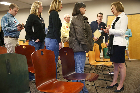 Republican presidential candidate Carly Fiorina greets people during a Timberland Town Hall at the Timberland Global Headquarters on February 3, 2016 in Stratham, New Hampshire.