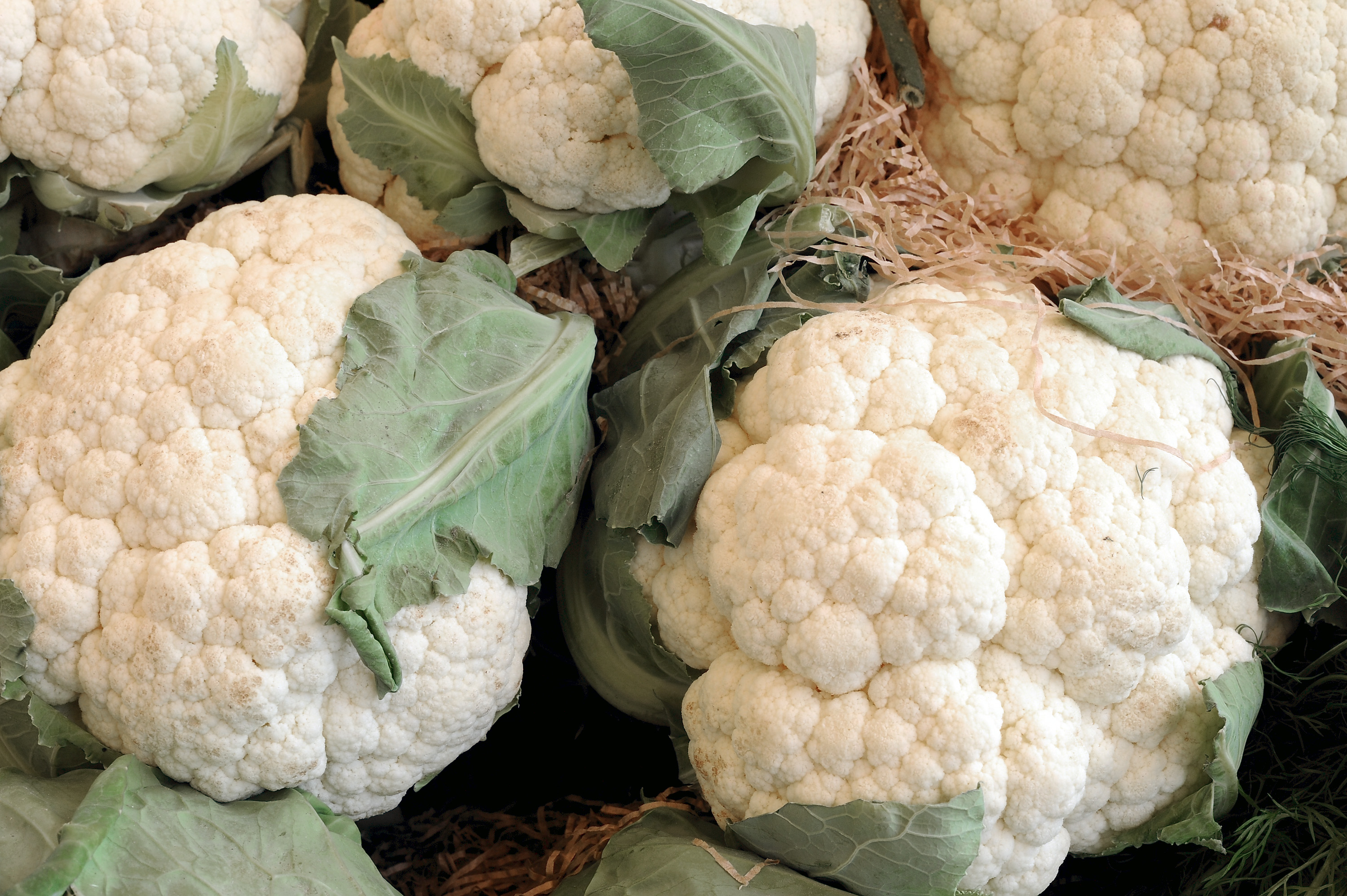 Some white cauliflower are displayed during the Expo 2015 at Fiera Milano Rho on May 29, 2015 in Milan, Italy.