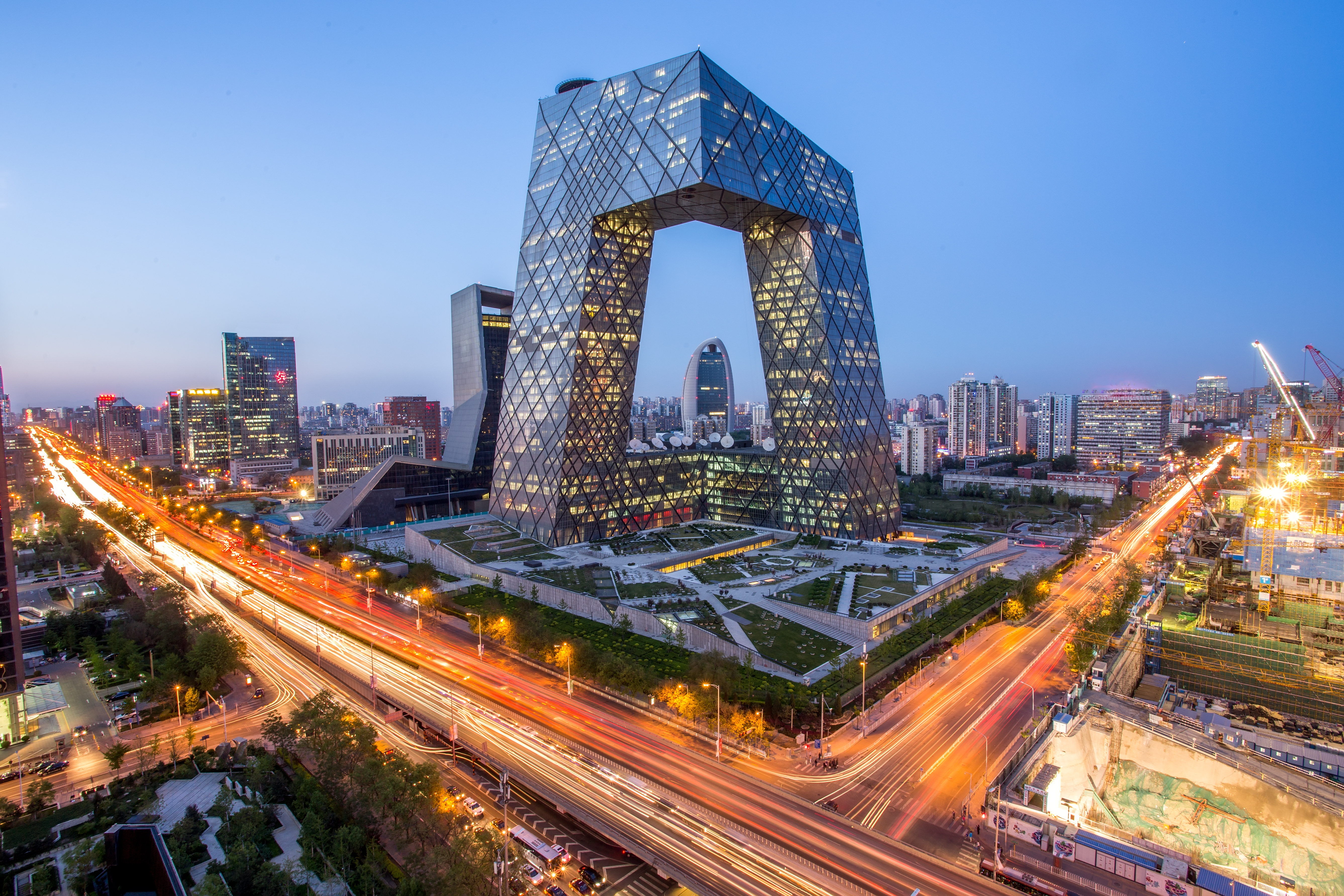 The China Central Television (CCTV) building , designed by Rem Koolhaas, in Beijing.