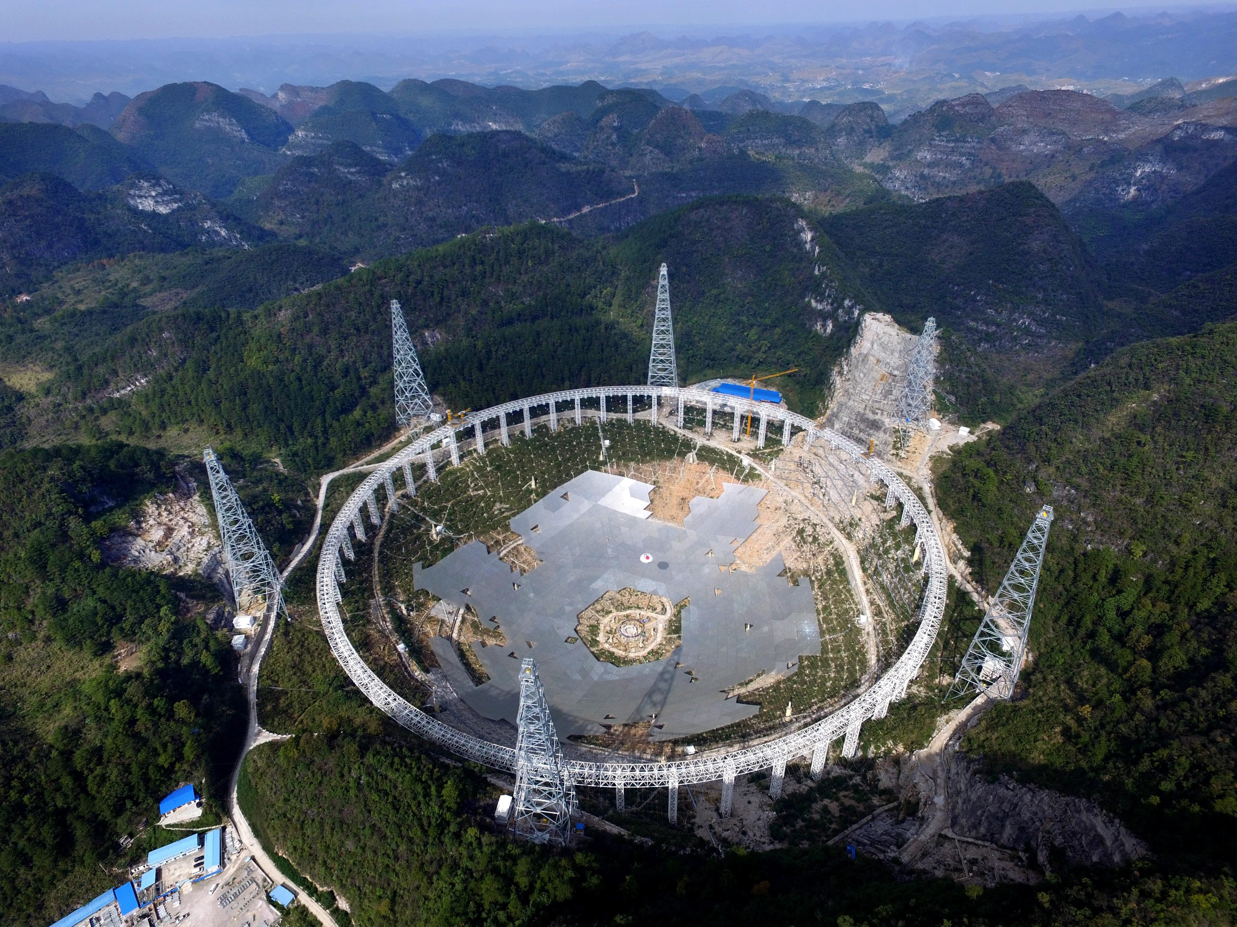 The Five-hundred-meter Aperture Spherical radio Telescope (FAST) under construction in southwest China's Guizhou province, on Nov. 26, 2015.