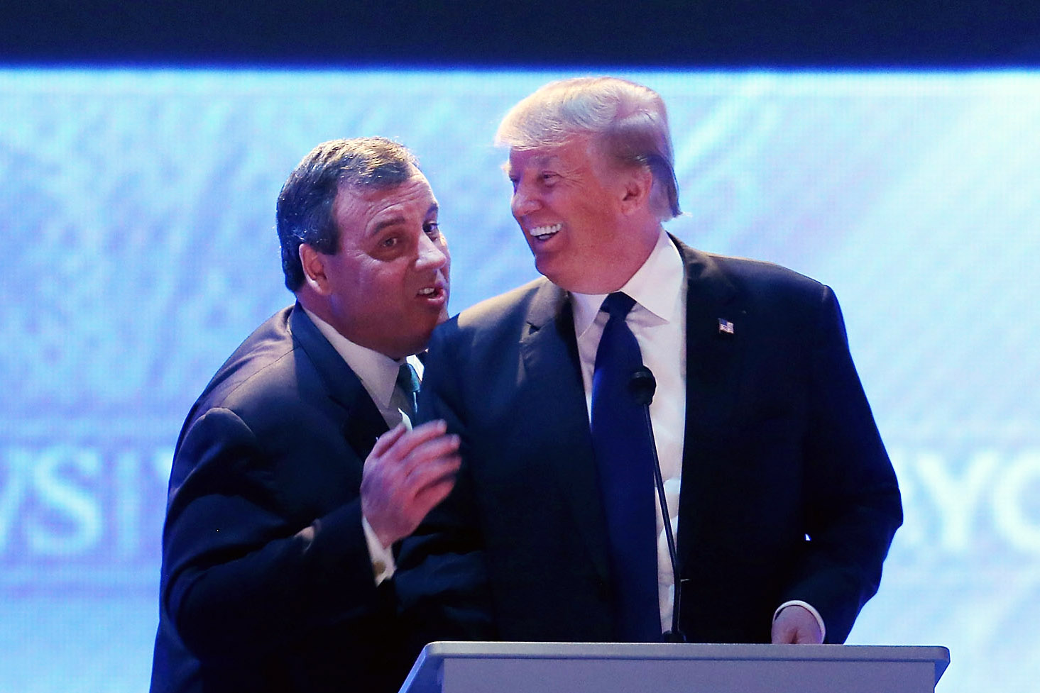 New Jersey Gov. Chris Christie endorsed business Donald Trump for president on Feb. 26. Here, the candidates greeted each other during a commercial break in a Feb. 6 Republican presidential debate.