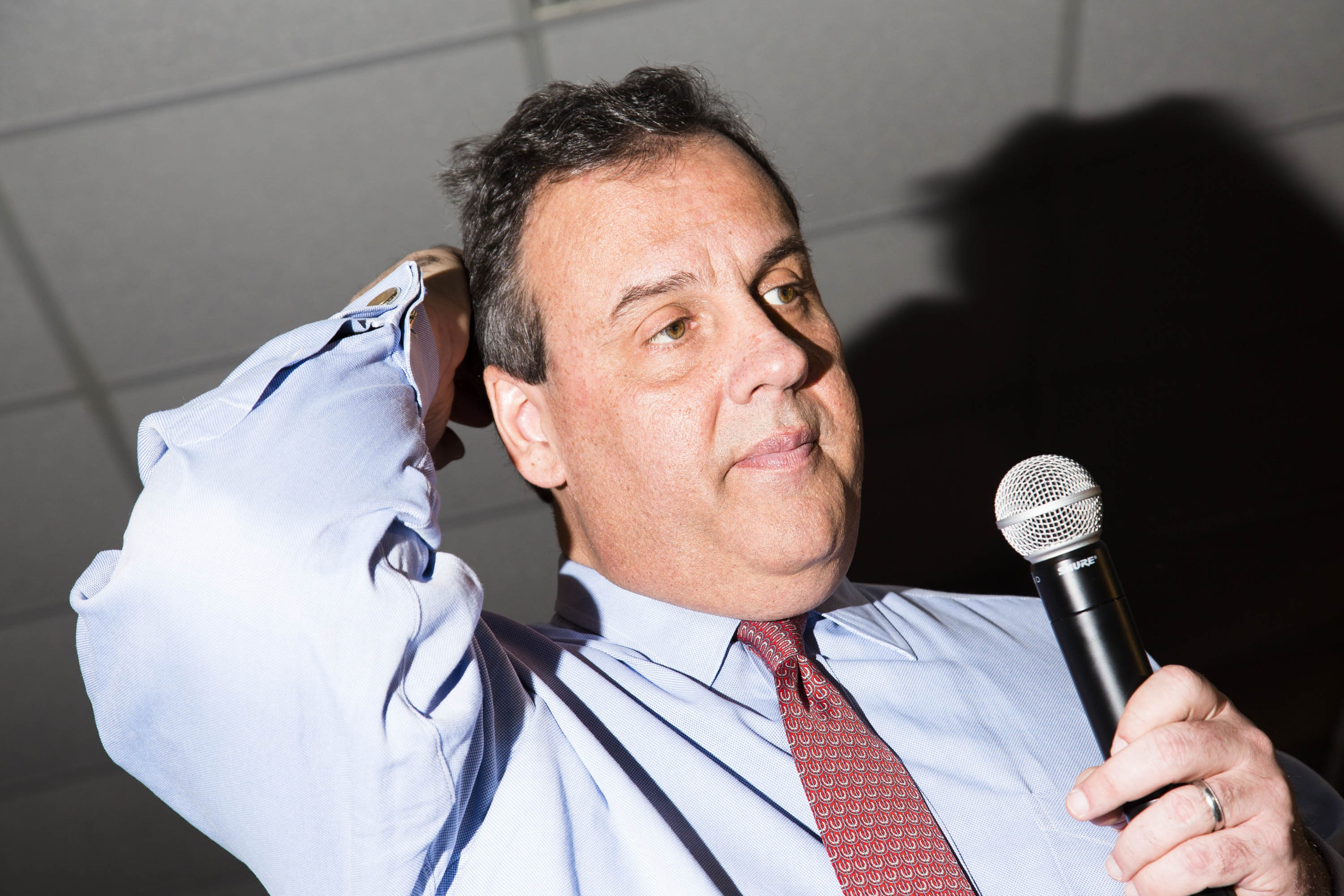 Chris Christie speaks to attendees during a campaign event on Feb. 7, 2016, in Hampton, NH.