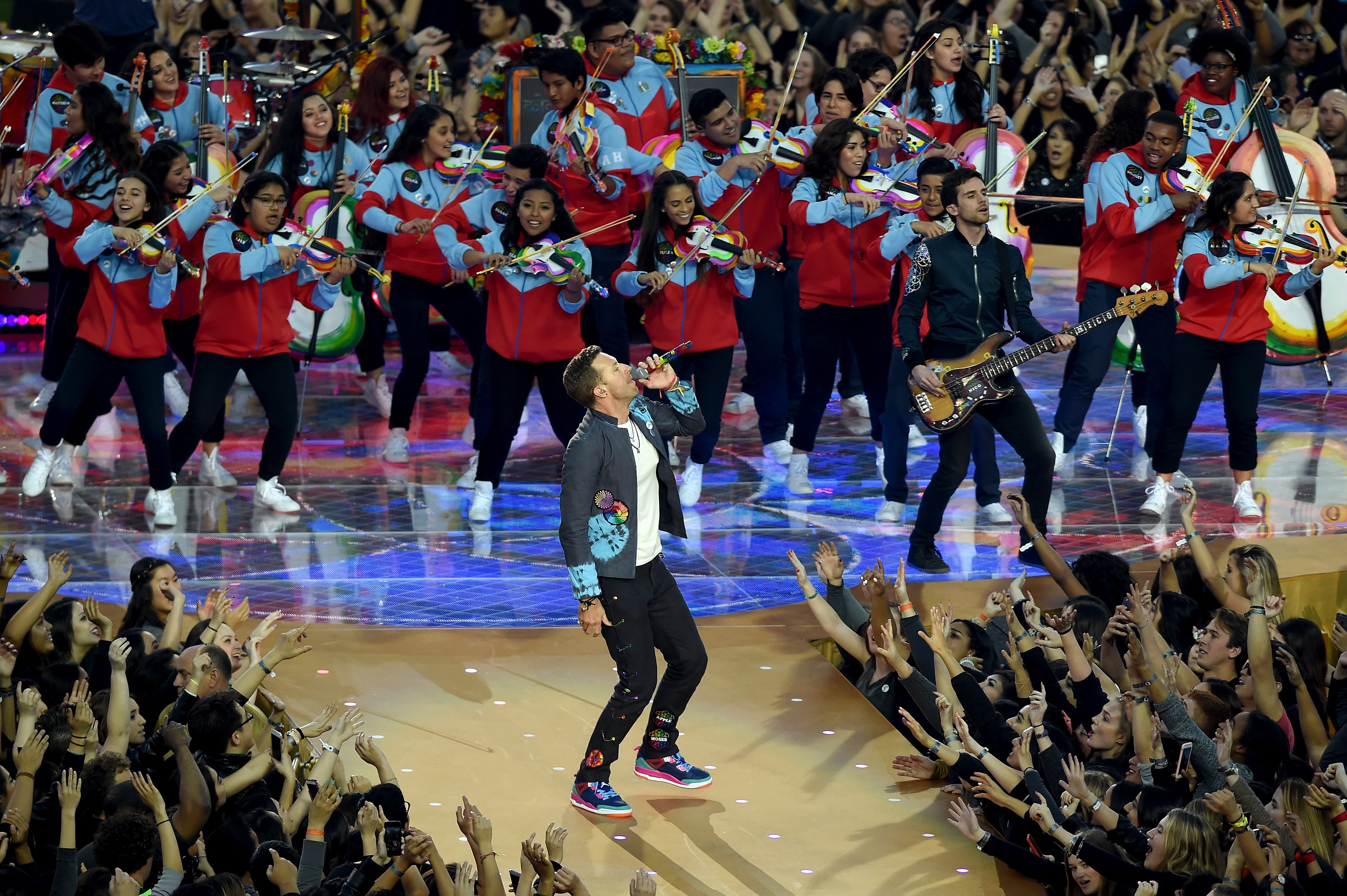 Chris Martin and Guy Berryman of Coldplay perform during the Pepsi Super Bowl 50 Halftime Show at Levi's Stadium on Feb. 7, 2016 in Santa Clara, Calif.