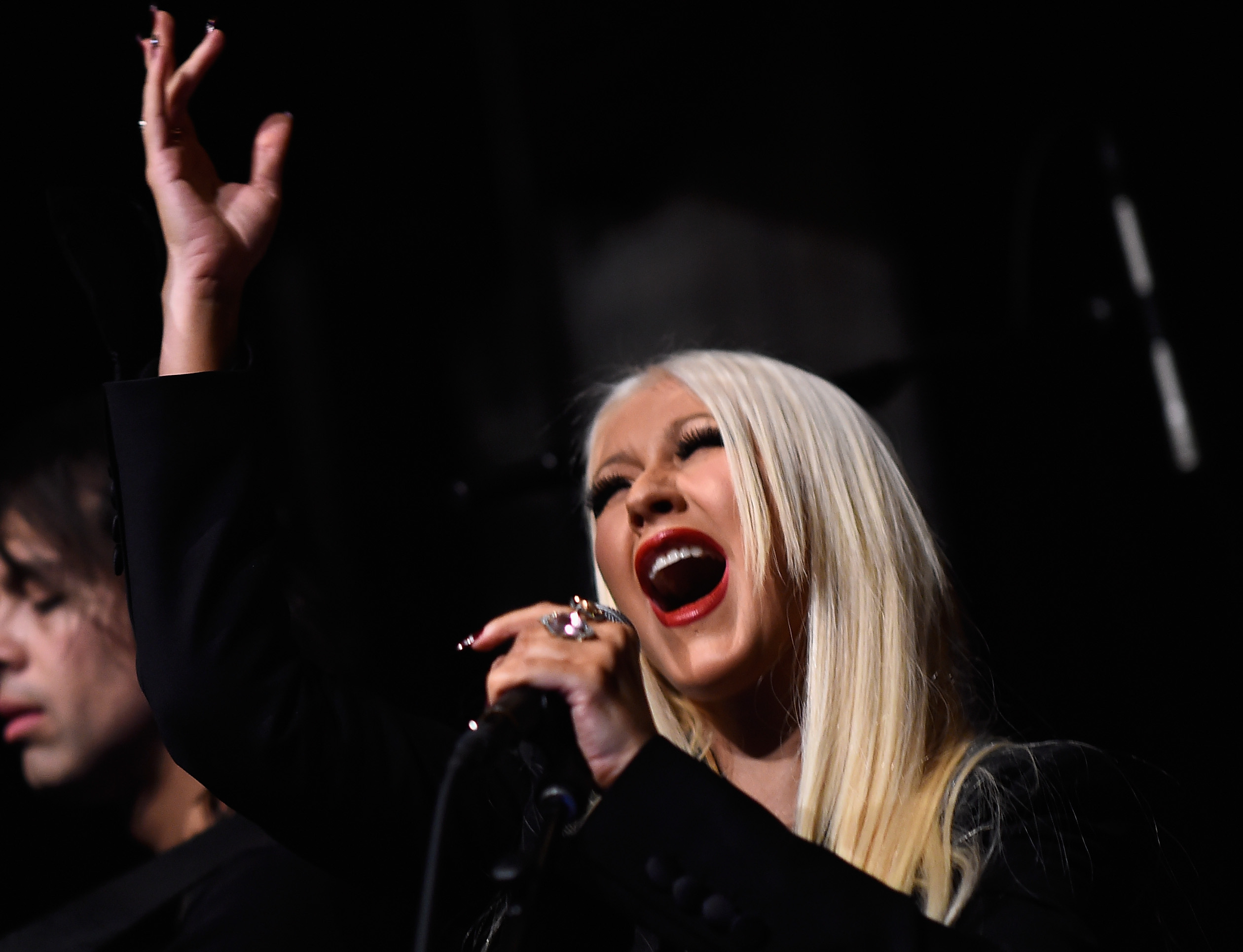 Singer Christina Aguilera performs at the Linda Perry Celebration For The Song  Hands Of Love  From The Film  Freeheld  on Jan. 5, 2016 in Los Angeles, California.