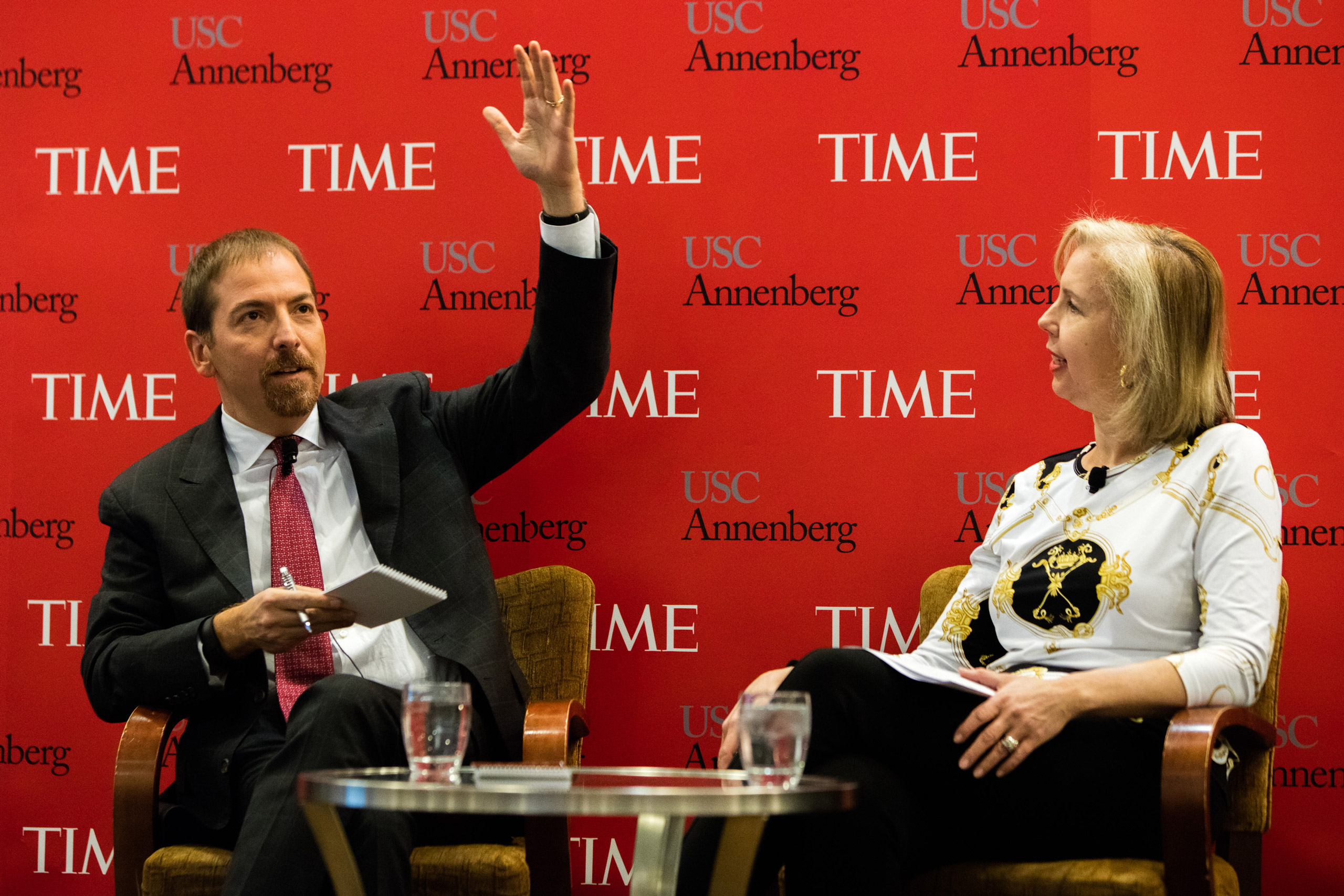 Chuck Todd and Nancy Gibbs at a panel hosted by USC Annenberg and TIME in Manchester, N.H., on Feb. 7, 2016.