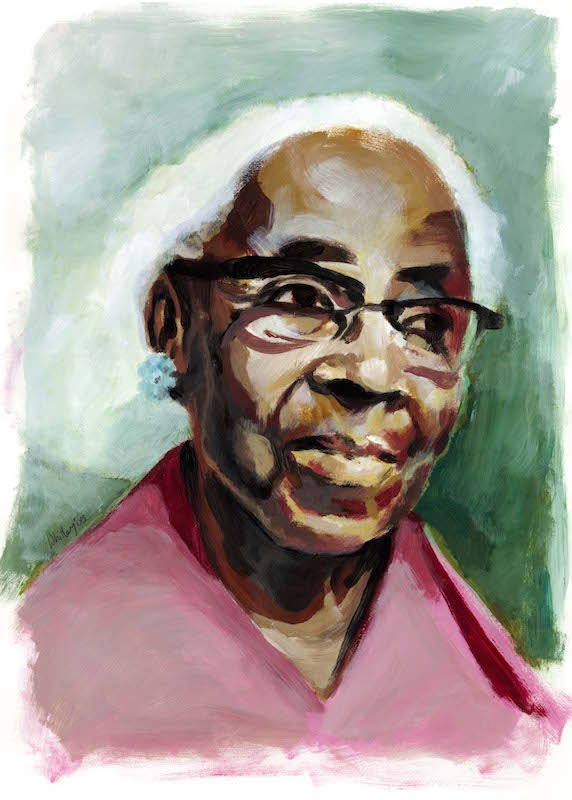 A color illustration of educator and civil rights activist Septima Clark (1898-1987) by Jason Whitley