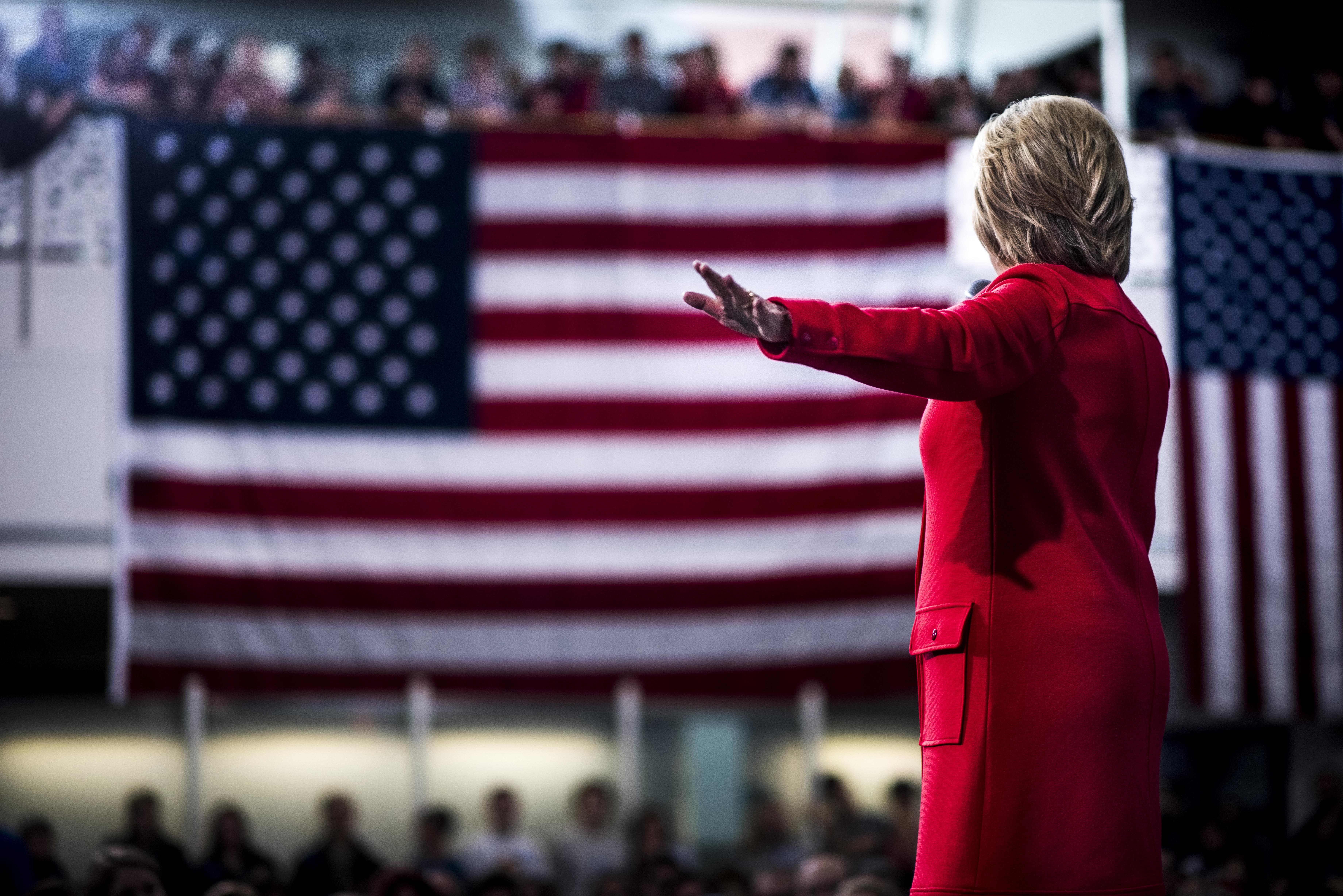 Hillary Clinton speaking to Iowa voters at Iowa State University in Ames, Iowa on Jan. 30, 2016.