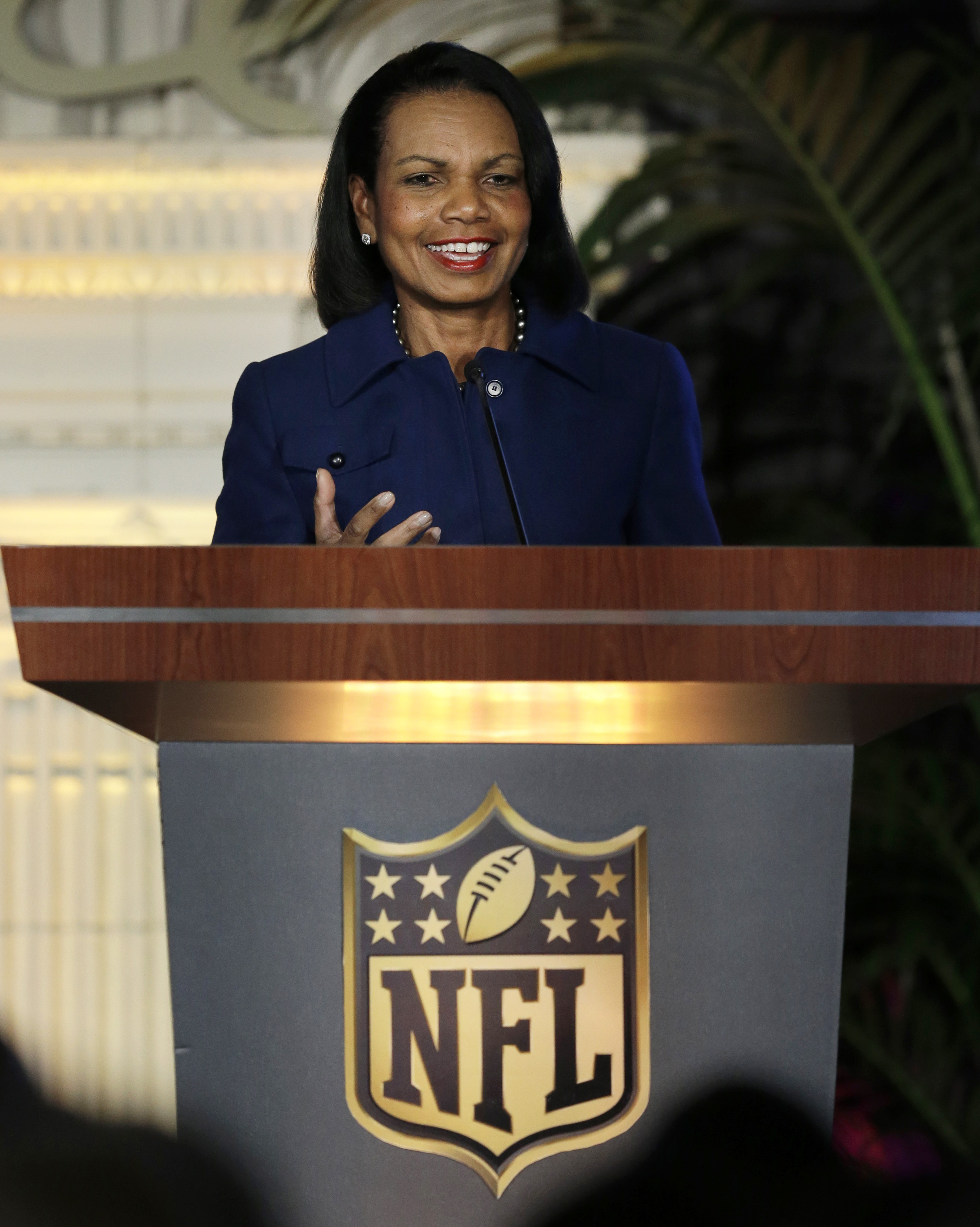 Condoleezza Rice gestures while speaking at the NFL Women's Summit on Feb. 4, 2016, in San Francisco.