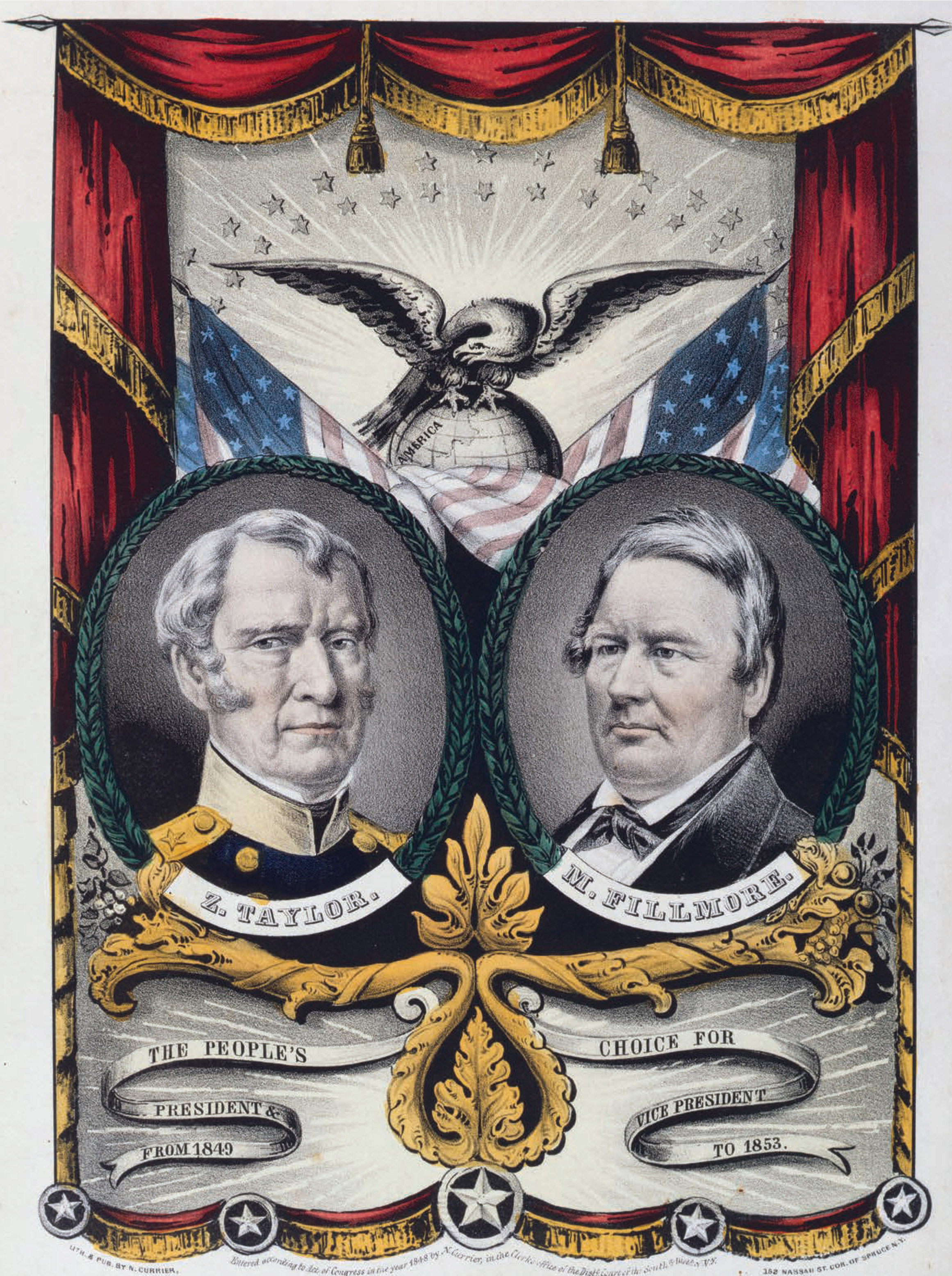 Grand National, Whig Banner/Press Onward. Nathaniel Currier, 1848