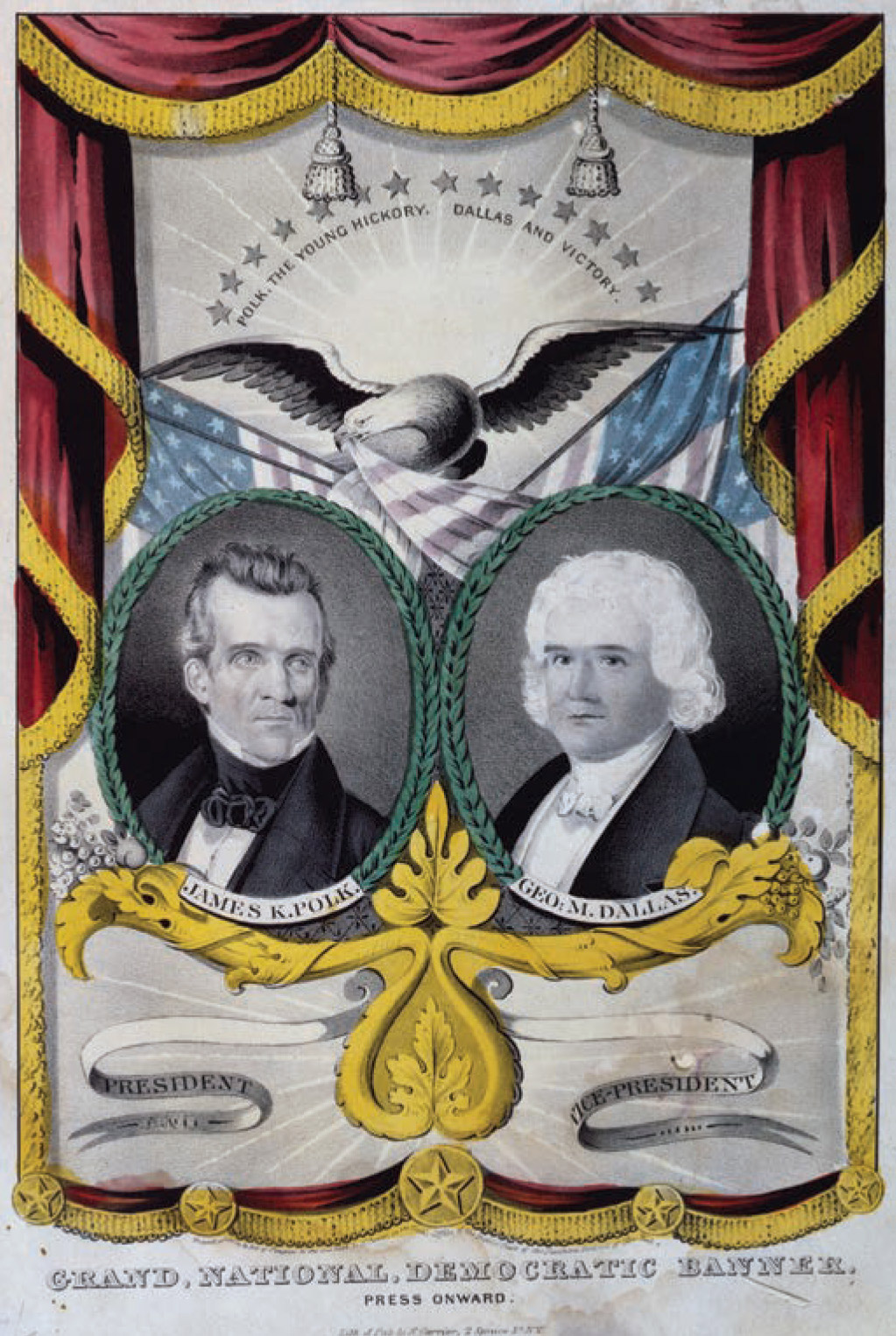 Grand National Democratic Banner. Nathaniel Currier, 1844. The first political banner.
