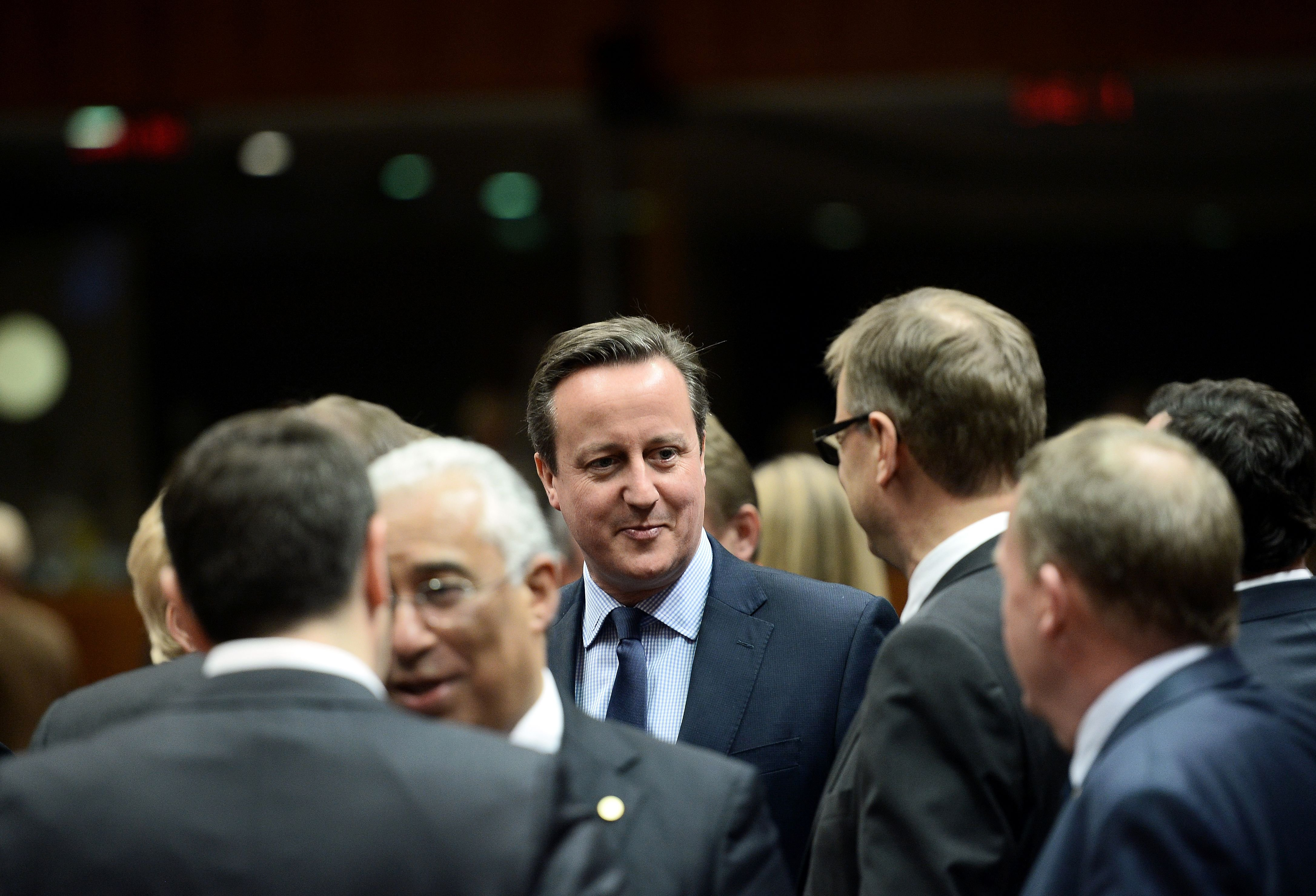 Britain's Prime Minister David Cameron attends an EU summit meeting, at the European Union council in Brussels, on Feb. 18, 2016.