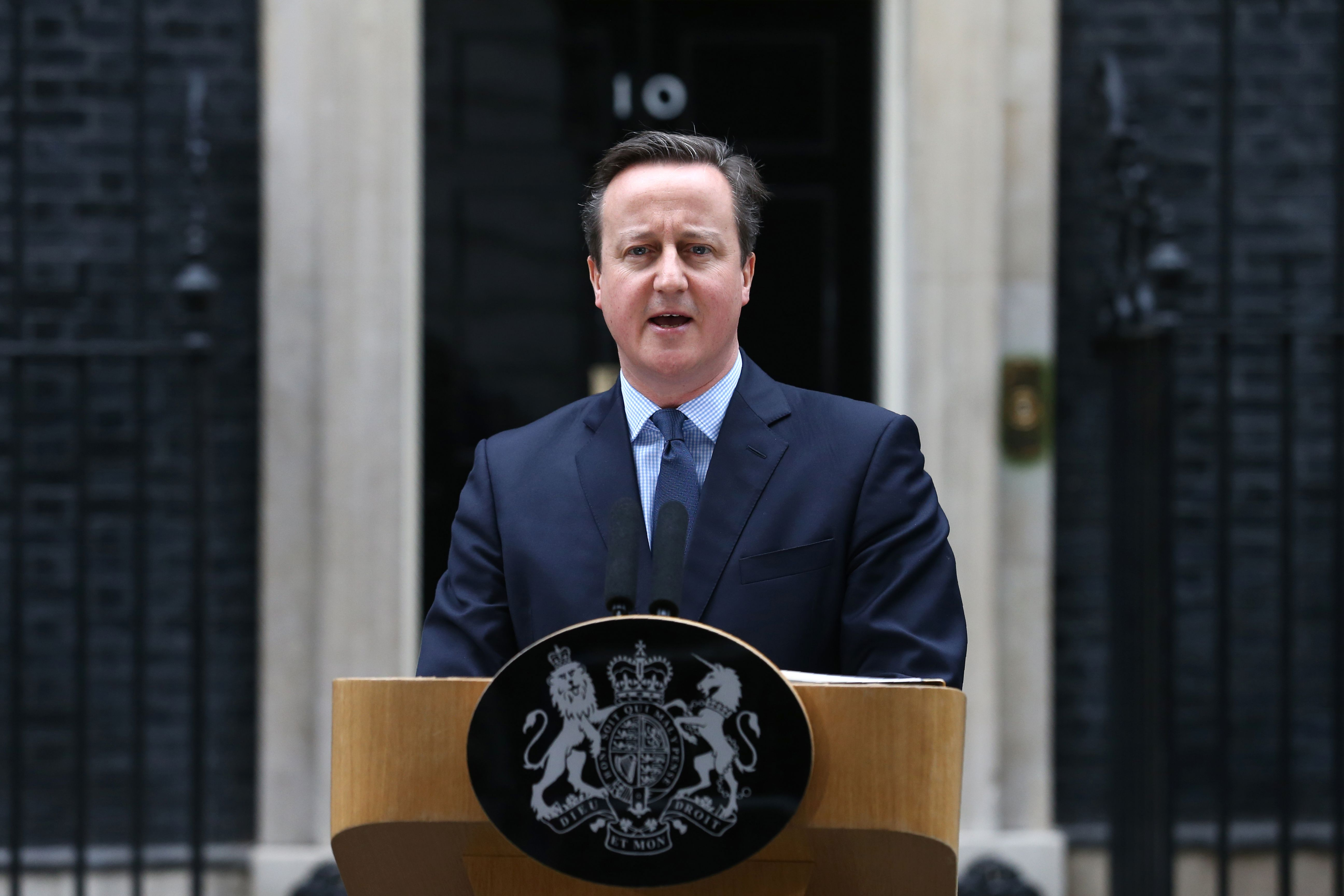 David Cameron makes a statement to the media outside 10 Downing Street in London on Feb. 20, 2016.