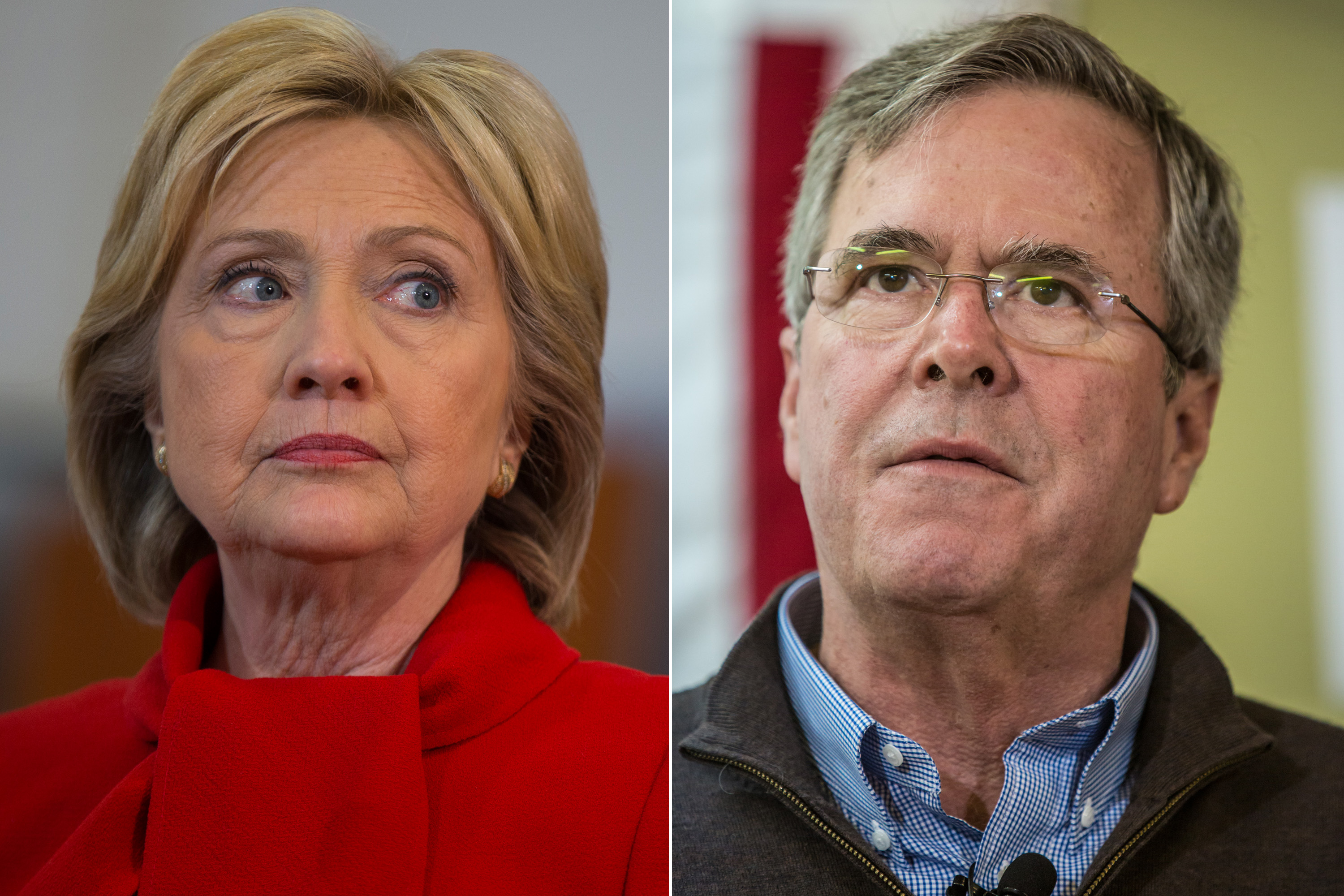 Left  Hillary Clinton speaks during a campaign rally at Burford Garner Elementary School in North Liberty, Iowa on Jan.24, 2016.  Right  Jeb Bush speaks at a campaign event at his local field office in Hiawatha, Iowa on Jan. 31, 2016.