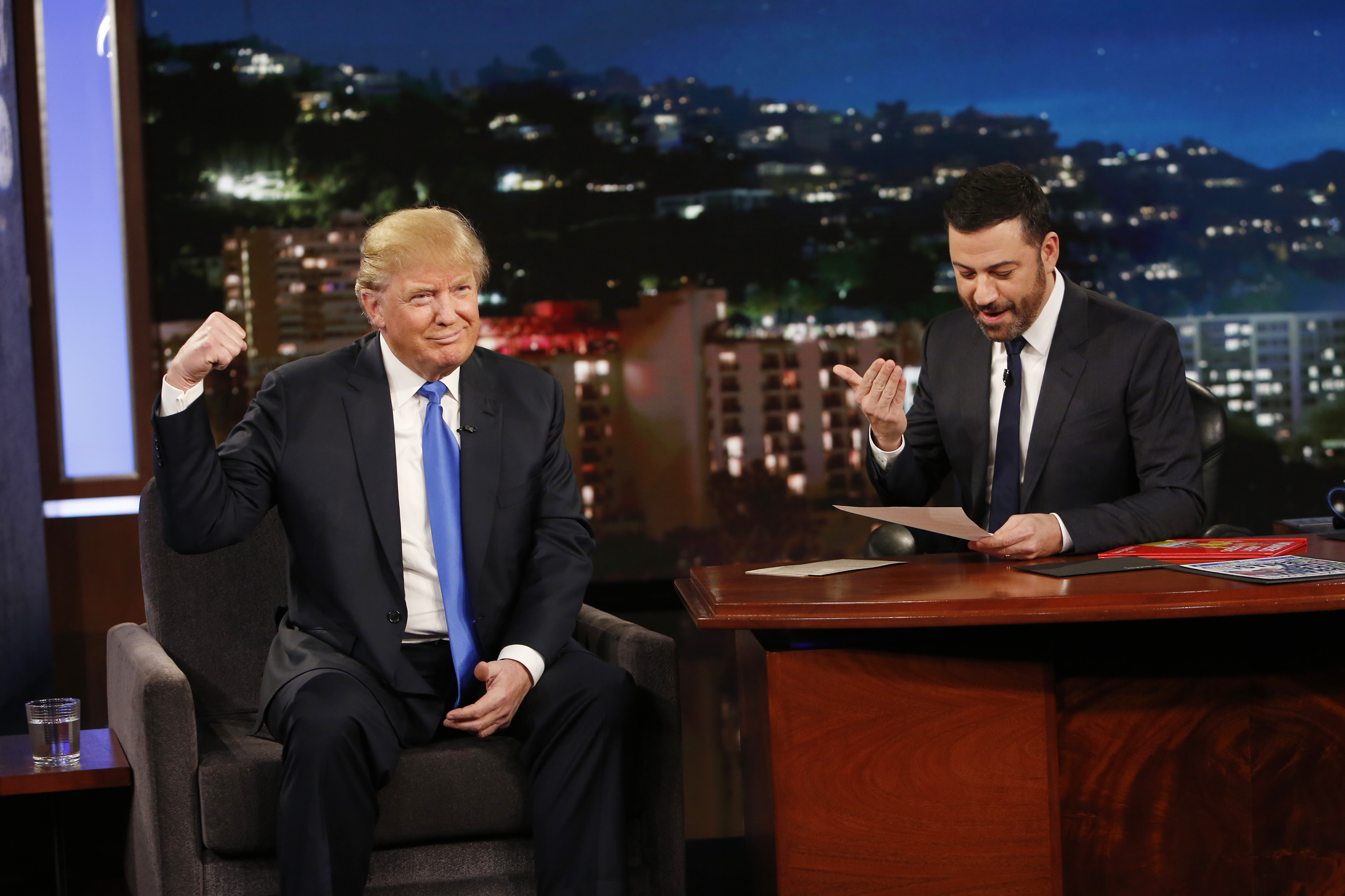 GOP presidential candidate Donald Trump appears on Jimmy Kimmel Live! on Dec. 16, 2015