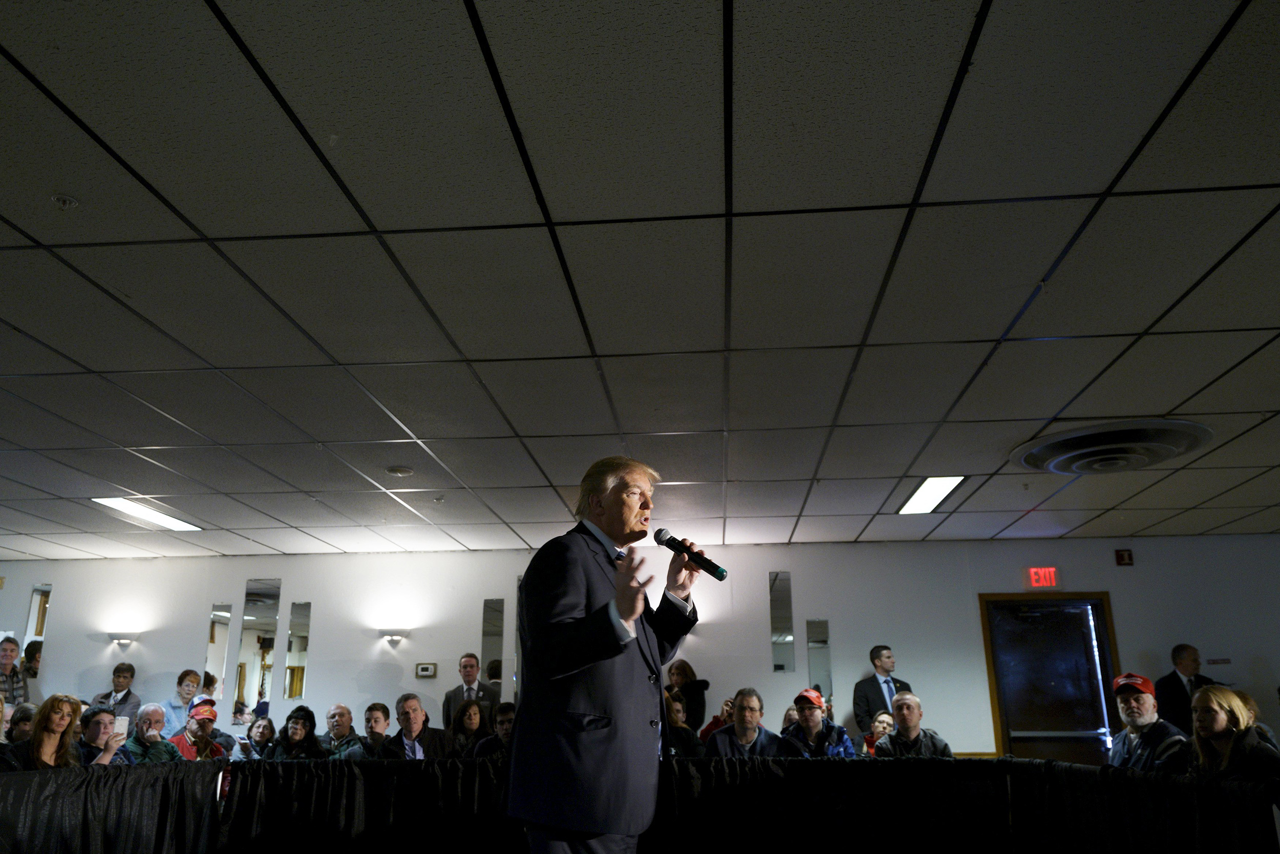 Republican presidential candidate Donald Trump speaks at an Elks Lodge in Salem, NH on Feb. 8, 2016.