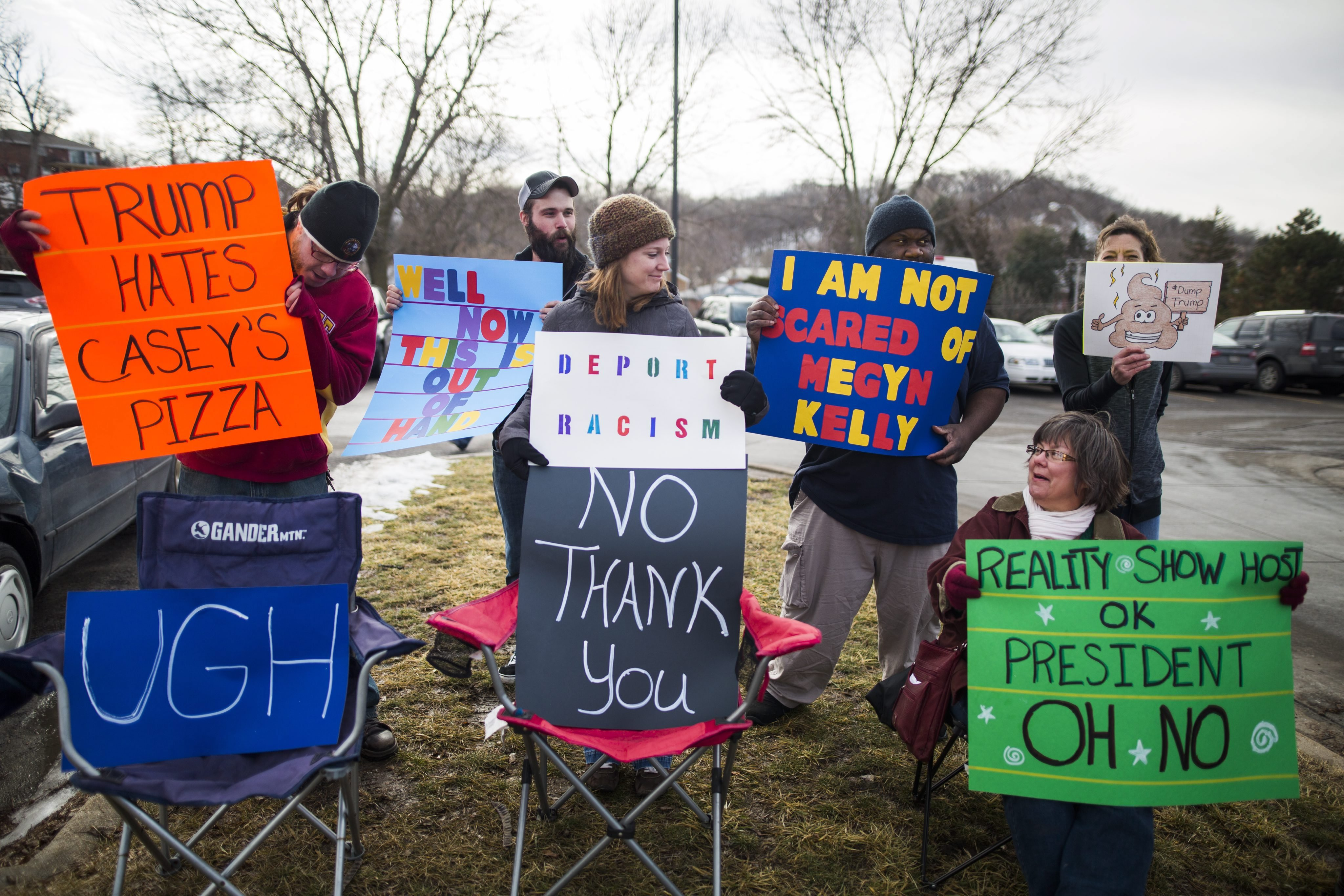 Protestors gather outside a campaign event for Republican presidential candidate Donald Trump at the Gerald Kirn Middle School in Council Bluffs, Iowa on Jan. 31 2016.