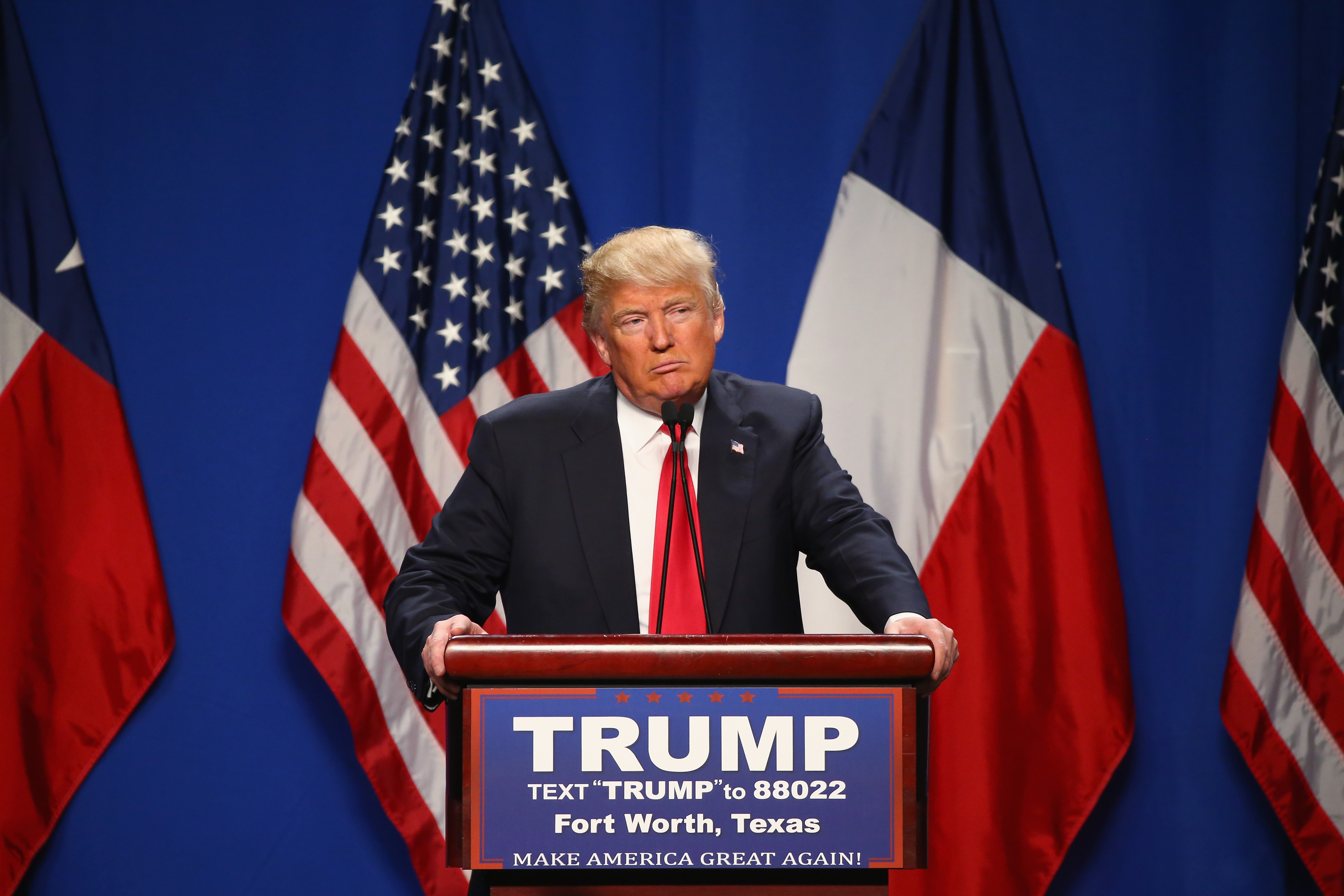Republican presidential candidate Donald Trump speaks at a rally in Fort Worth, Texas, Feb. 26, 2016.