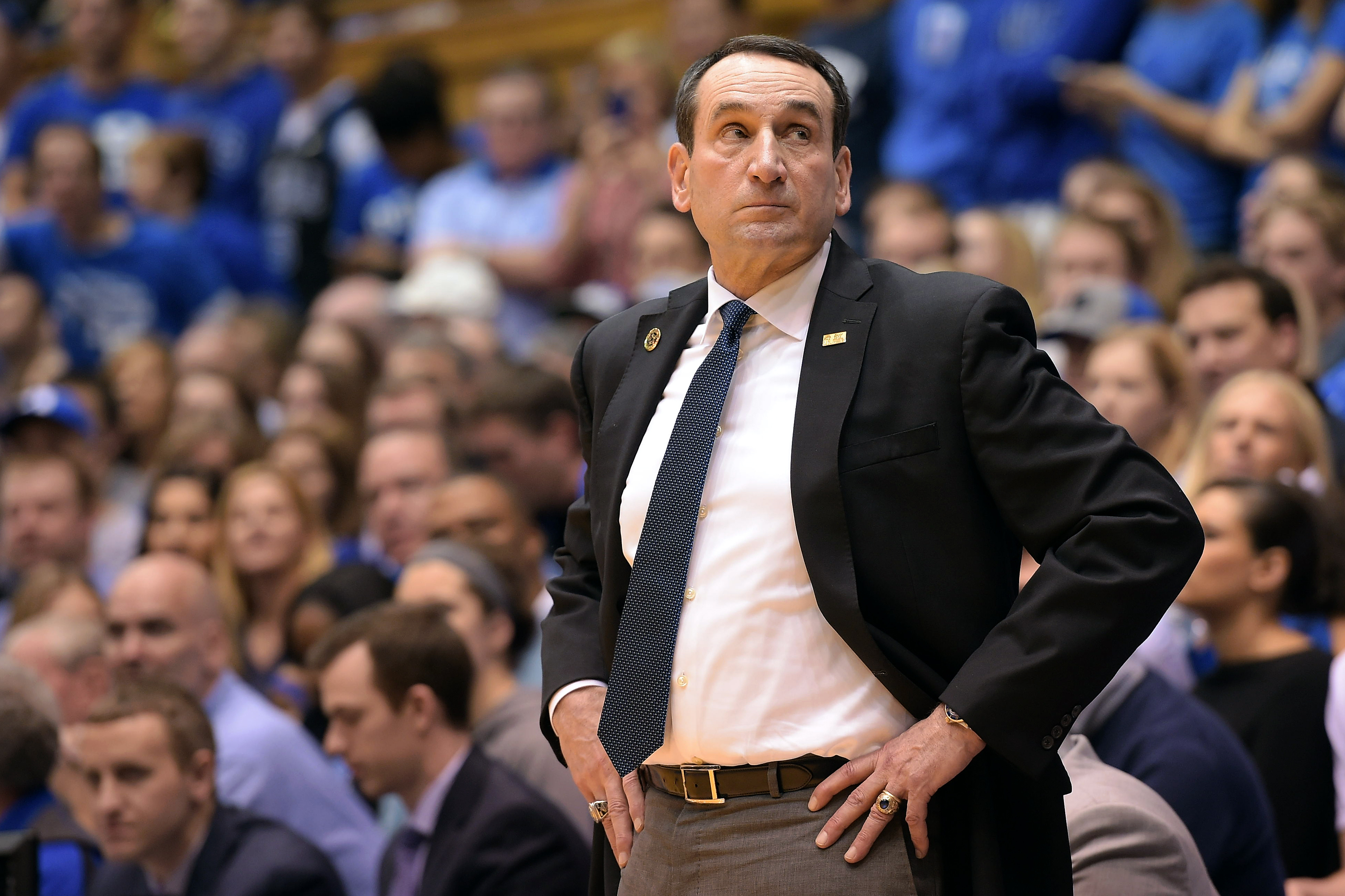 Head coach Mike Krzyzewski of the Duke Blue Devils looks on during their game against the Notre Dame Fighting Irish at Cameron Indoor Stadium on January 16, 2016 in Durham, North Carolina.