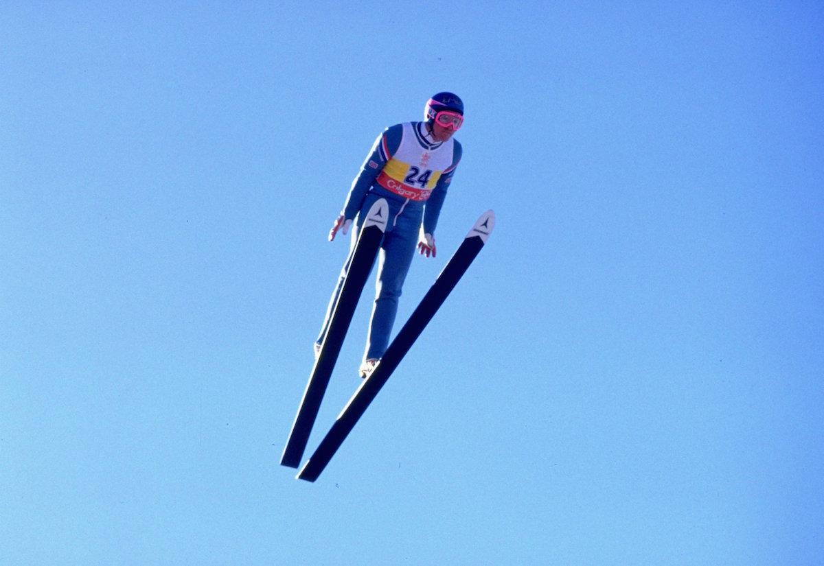 Eddie Edwards of Great Britain in action during the 90 metres Ski Jump event at the 1988 Winter Olympic Games in Calgary, Canada, on Feb. 23, 1988