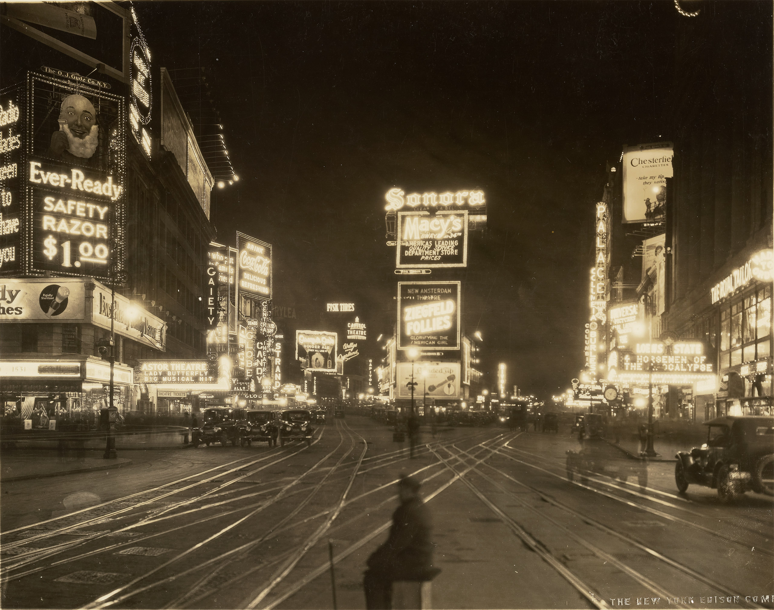 A Night View of Broadway looking North from 45th Street, 1923The J. Paul Getty Museum, Los Angeles