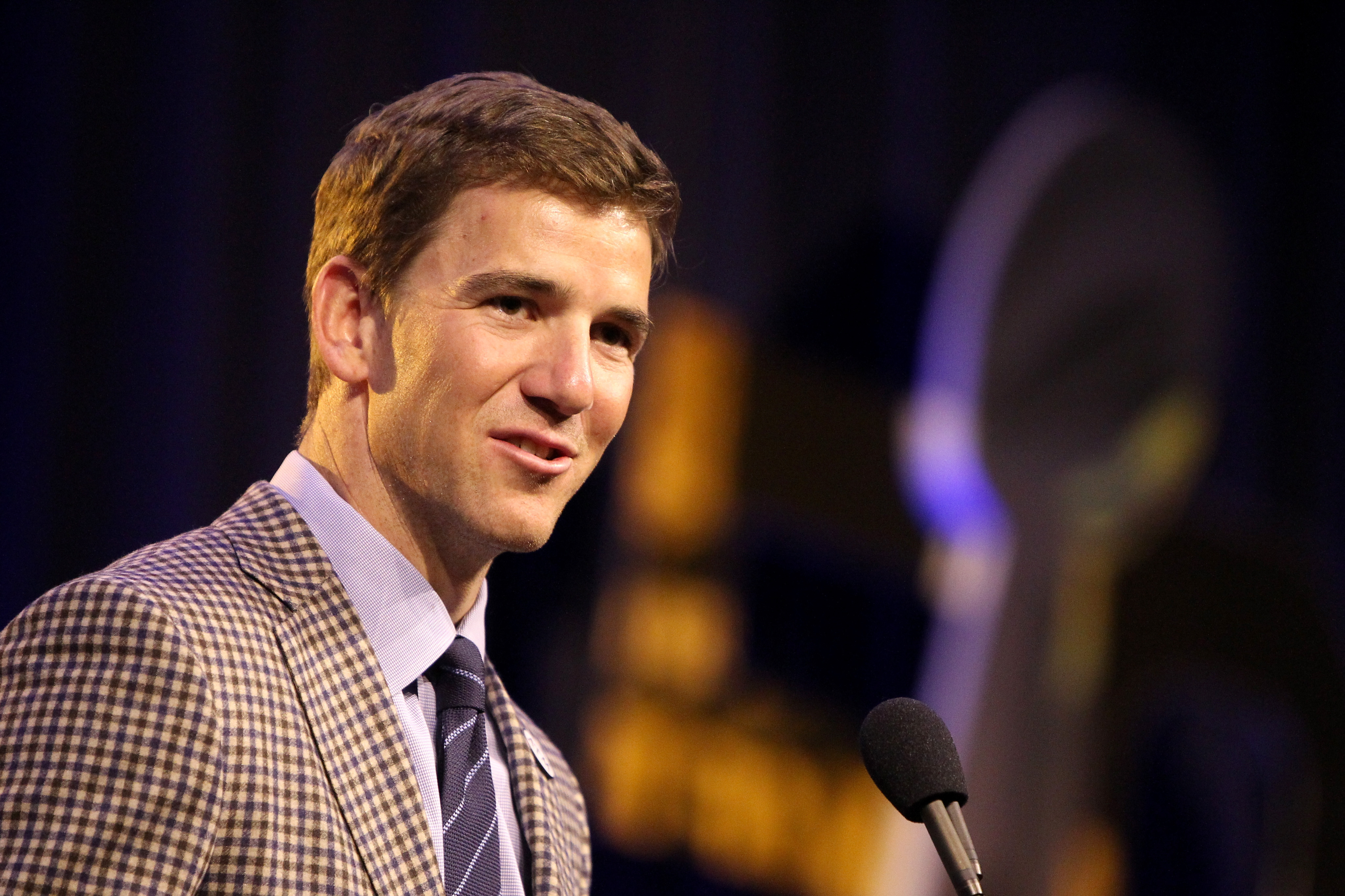 Finalist Eli Manning of the New York Giants speaks during the 2015 Walter Payton Man of the Year Finalist press conference prior to Super Bowl 50 at the Moscone Center West on February 5, 2016 in San Francisco, California.