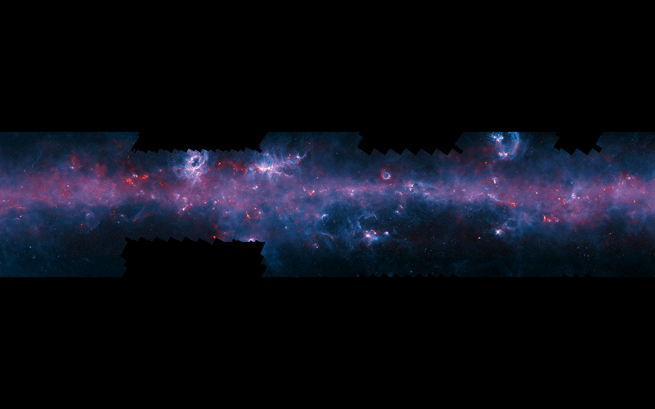 An image of the Milky Way, released to mark the completion of the APEX Telescope Large Area Survey of the Galaxy. The APEX telescope in Chile has mapped the full area of the Galactic Plane visible from the southern hemisphere for the first time at submillimetre wavelengths — between infrared light and radio waves — and in finer detail than recent space-based surveys.