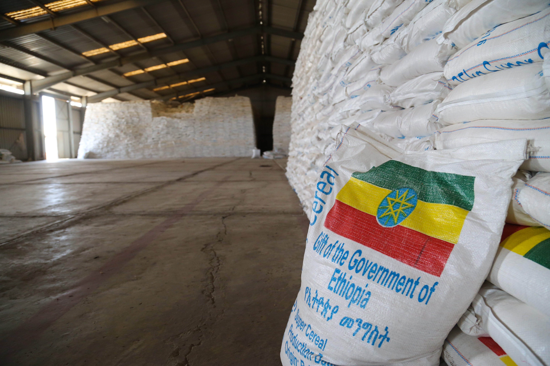 Sacks of emergency food supplies at a supply depot in  Adama, Ethiopia on Feb. 13, 2016.